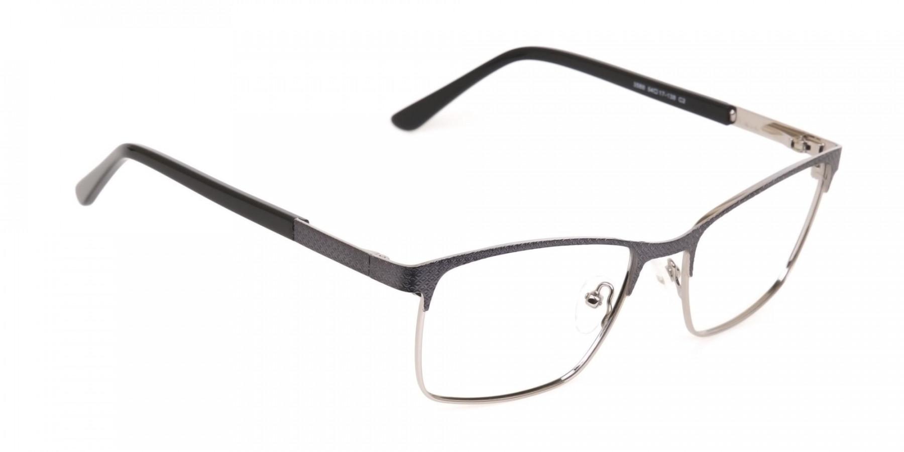 Black and Silver Grey Gunmetal Rectangle Glasses-1