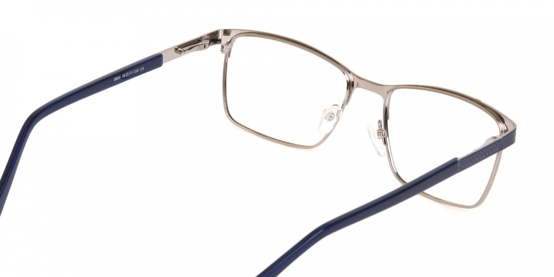 Royal Blue & Gunmetal Rectangular Metal Glasses-1