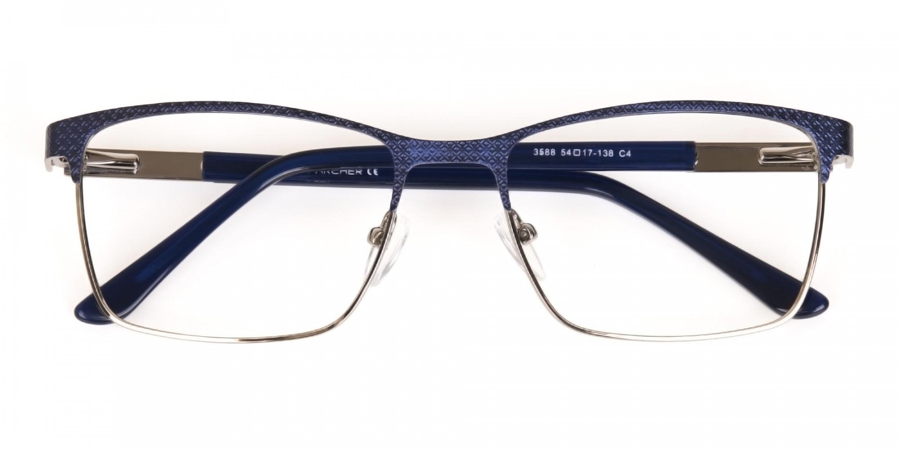 Royal Blue & Gunmetal Rectangular Metal Glasses-1