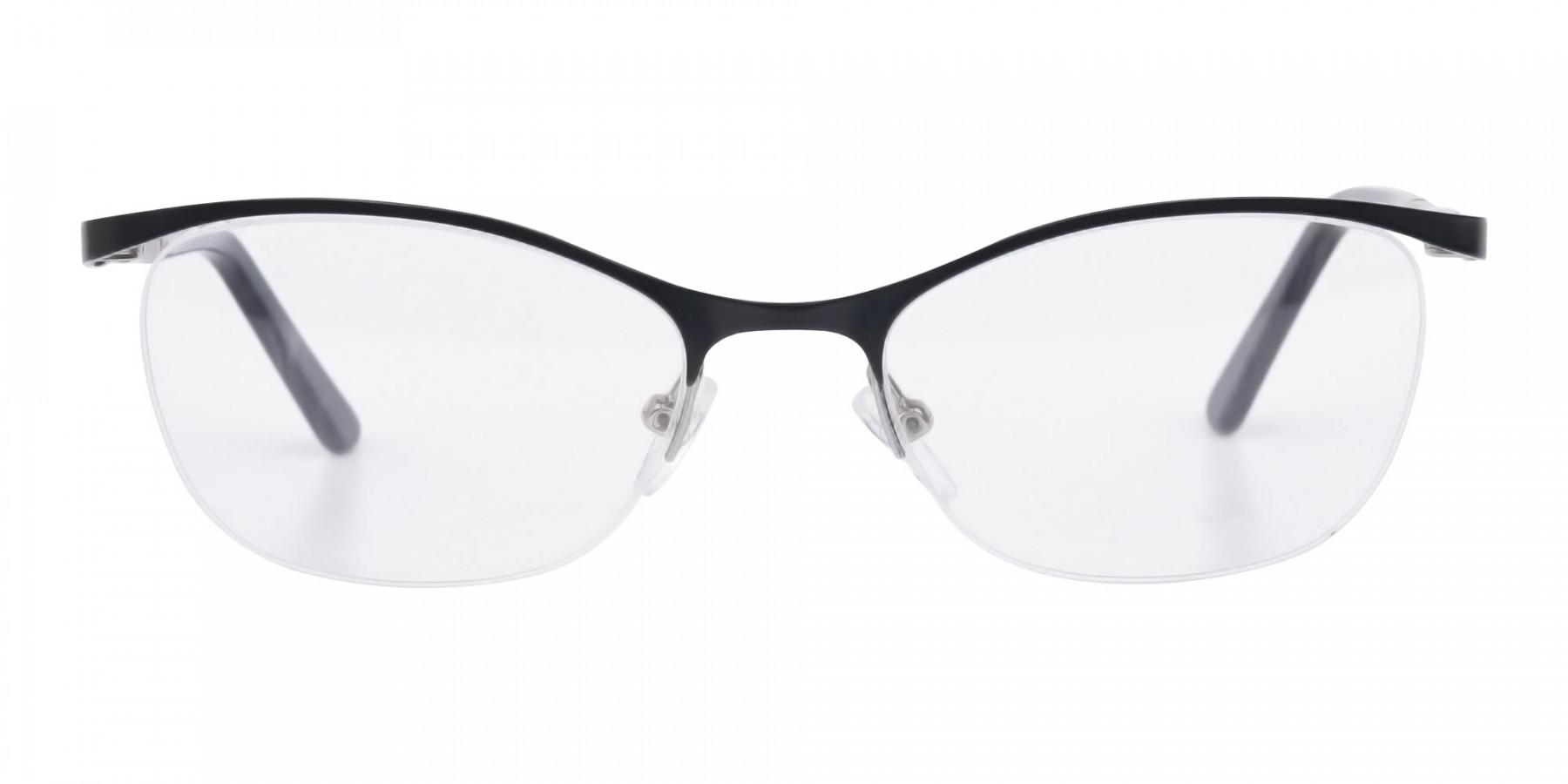 Matte Black Marble Metal Oval Cateye Glasses Women-1
