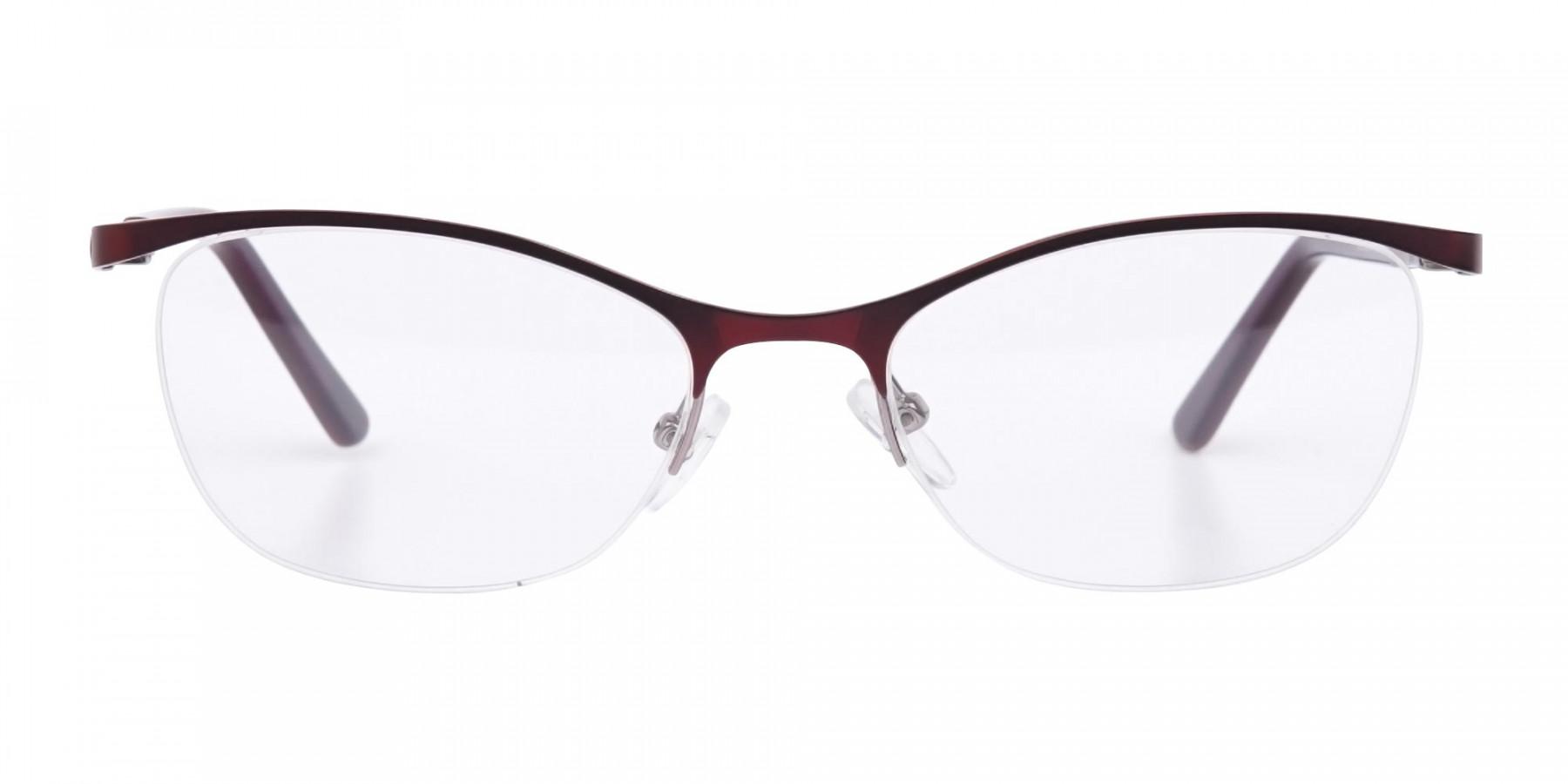 Burgundy Red Oval Cat-Eye Glasses Frame Women-1