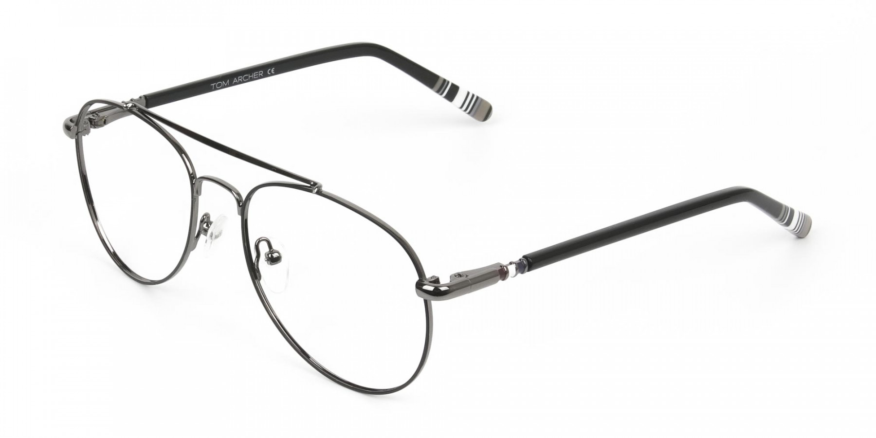 Aviator Gunmetal Black Fine Metal Glasses - 1