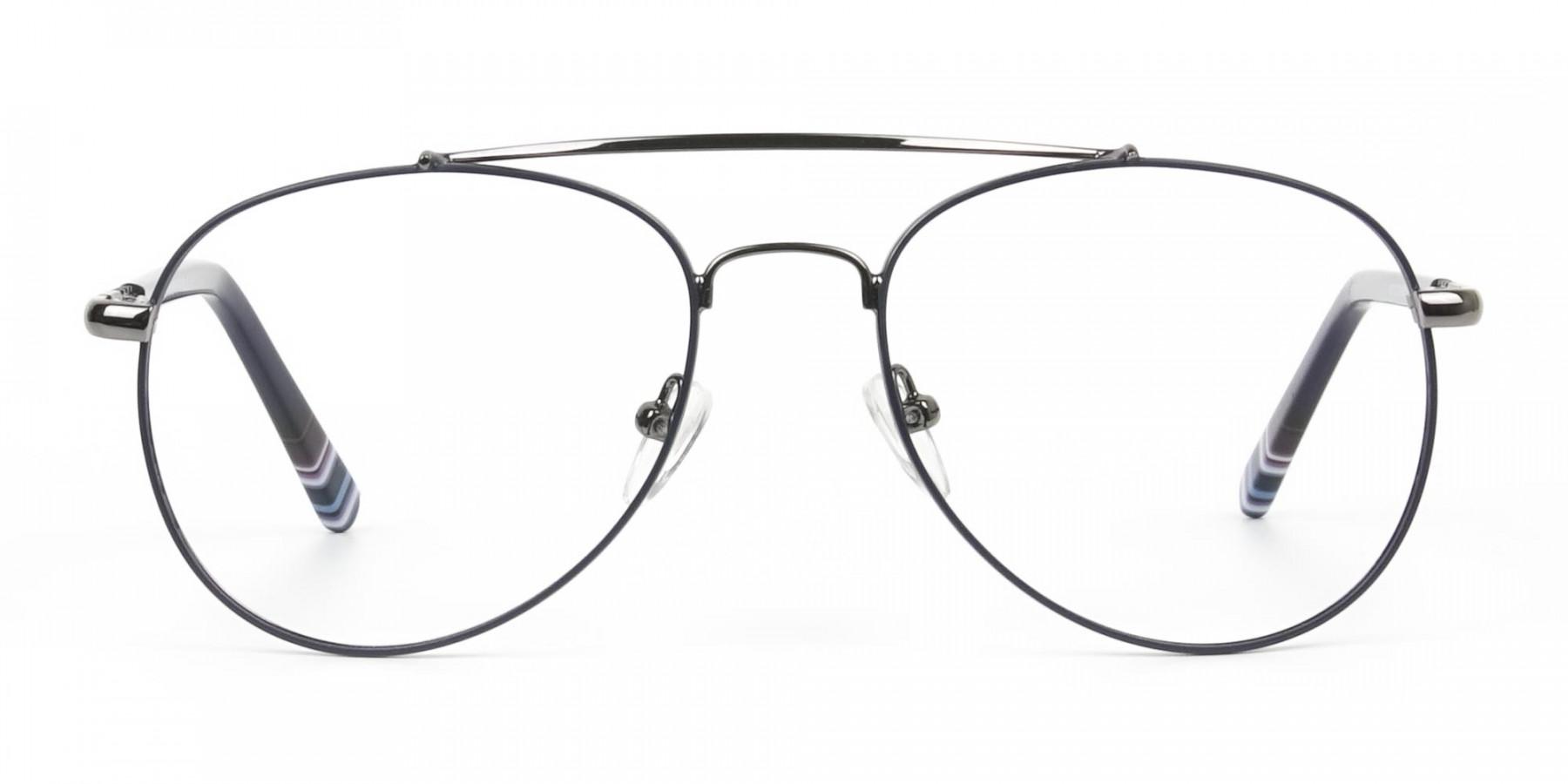 Aviator Gunmetal Dark Blue Fine Metal Glasses - 1