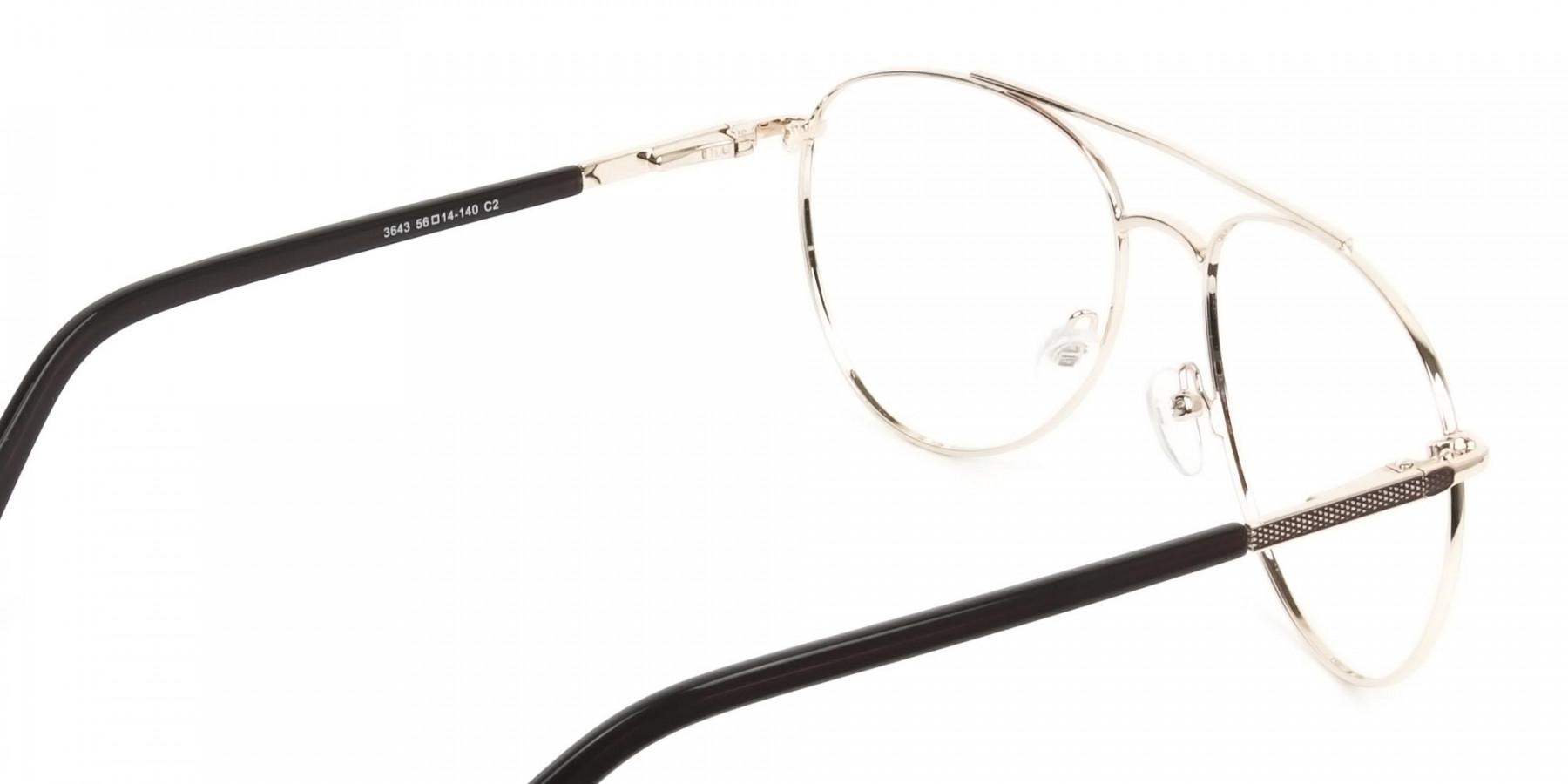 Ultralight Aviator Gold & Brown Glasses - 1