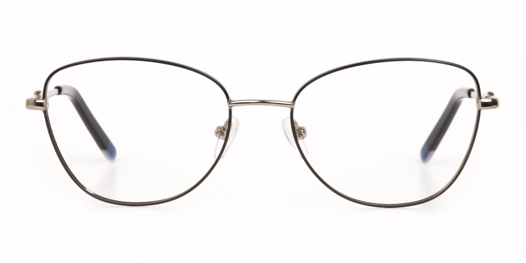 Black & Silver Metal Cat Eye Glasses Women-1
