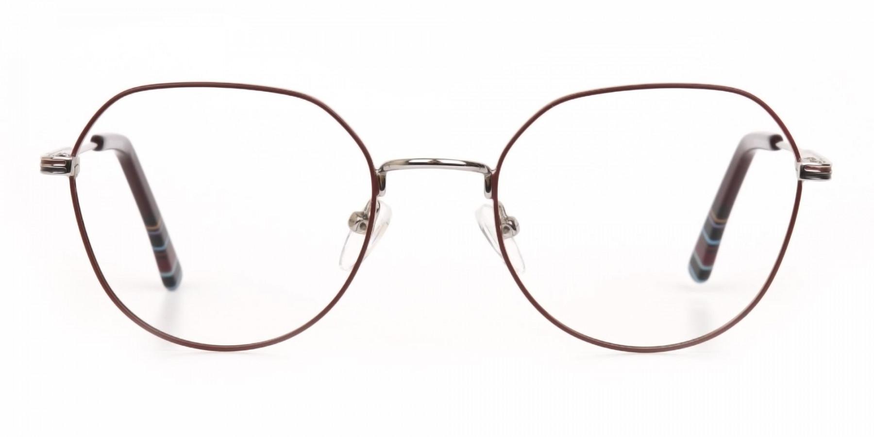 Red, Burgundy & Silver Wayfarer Metal Glasses-1