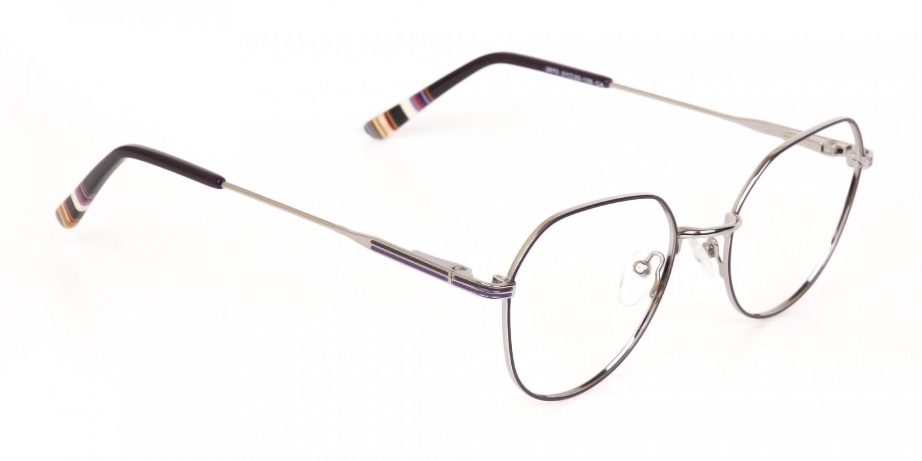 Raisin Purple & Silver Wayfarer Metal Glasses-1