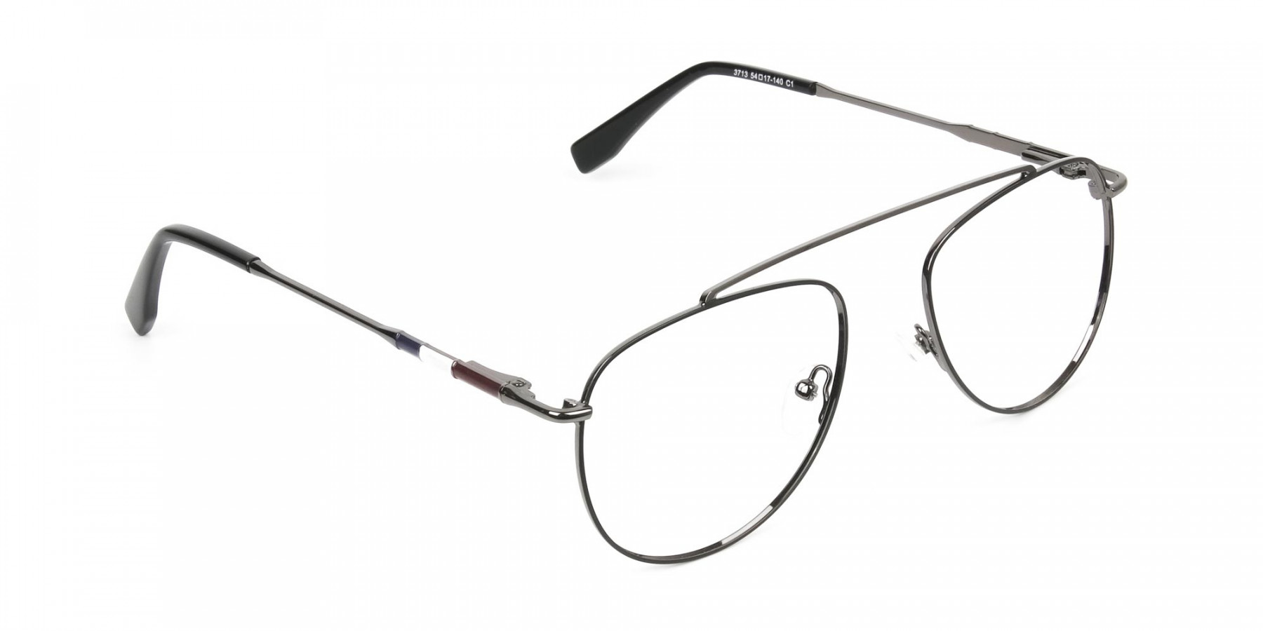 Silver & Dark Navy Thin Metal Aviator Frame Glasses - 1