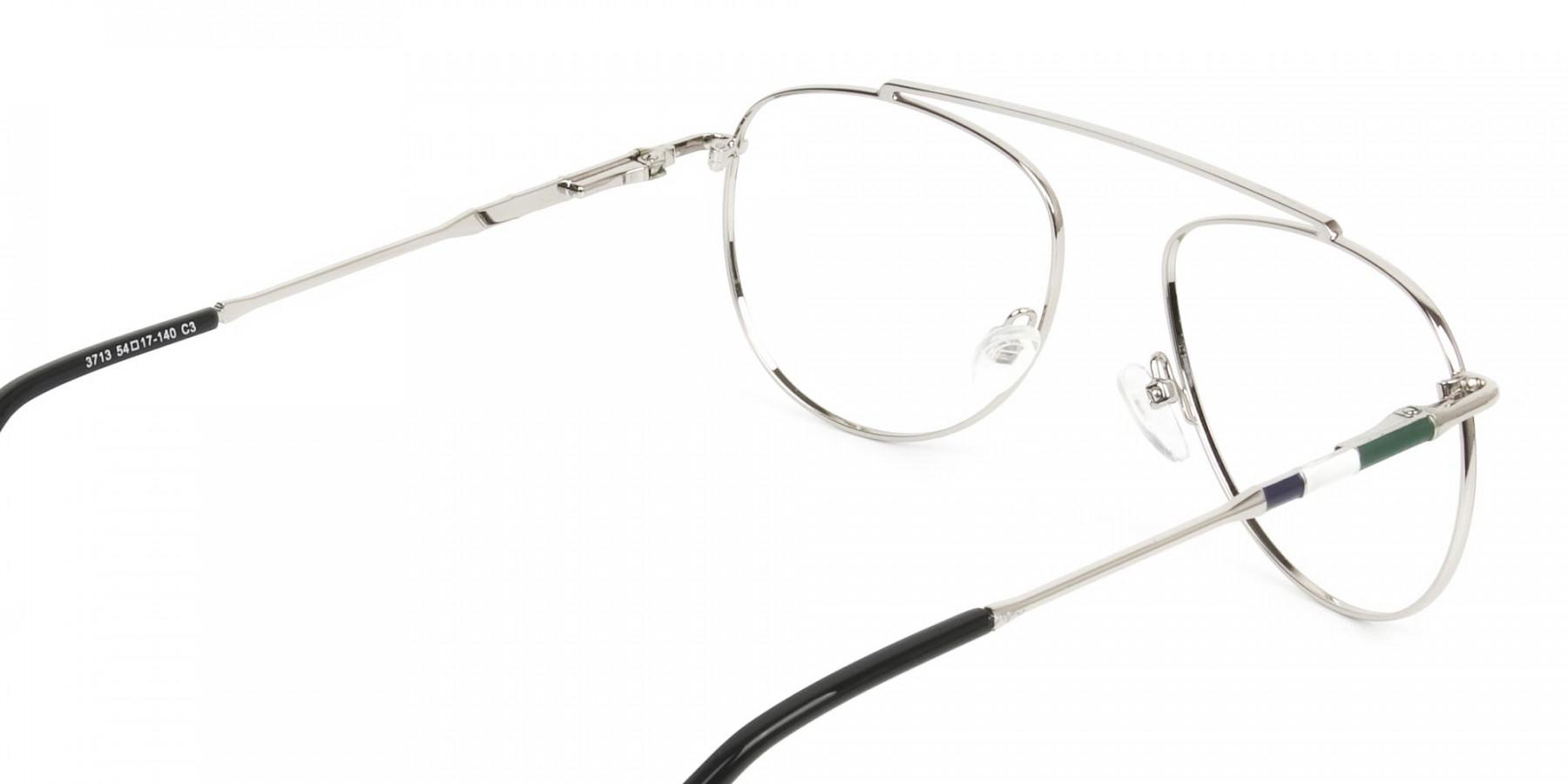Silver & Dark Green Aviator Glasses - 1