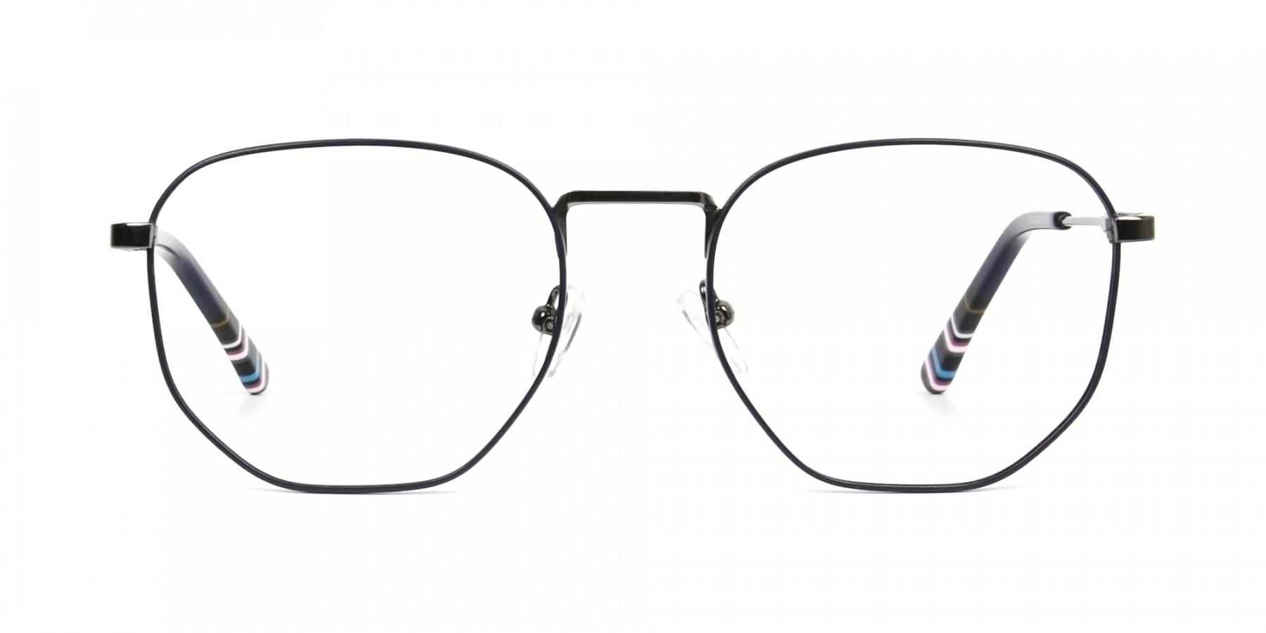 Geometric Blue Gunmetal Spectacles - 1