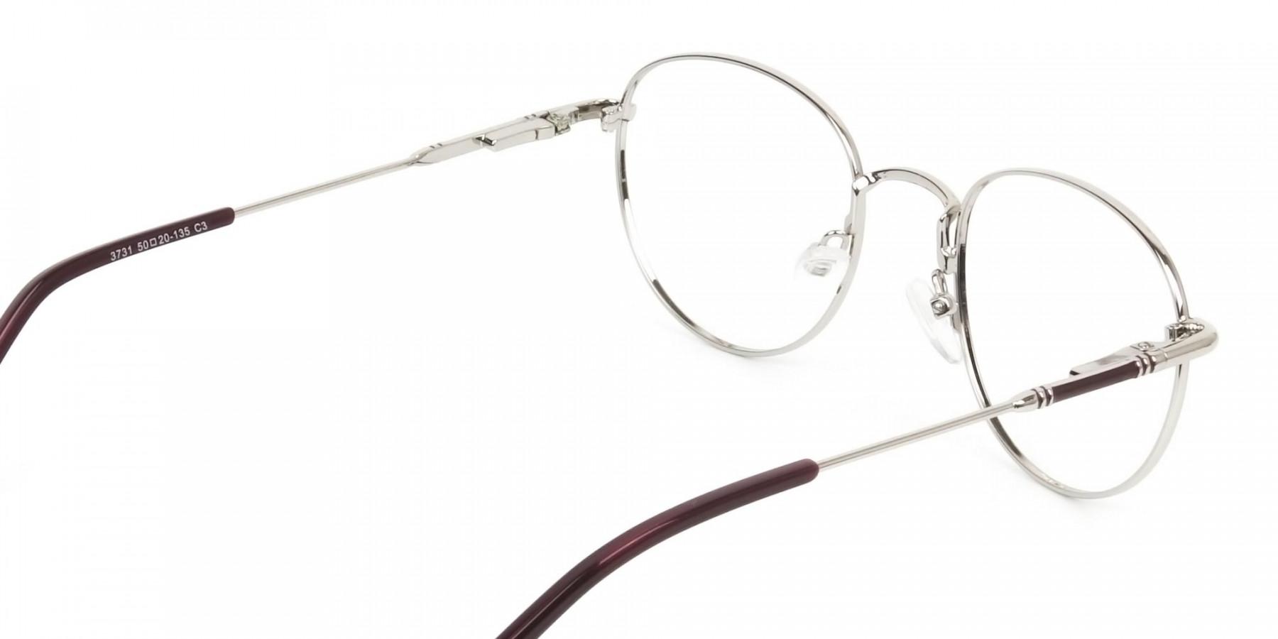 Lightweight Burgundy & Silver Round Spectacles  - 1