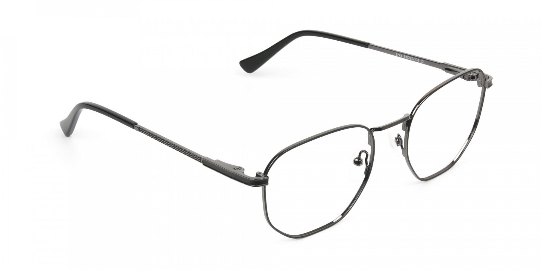 Lightweight Gunmetal Black Geometric Glasses - 1