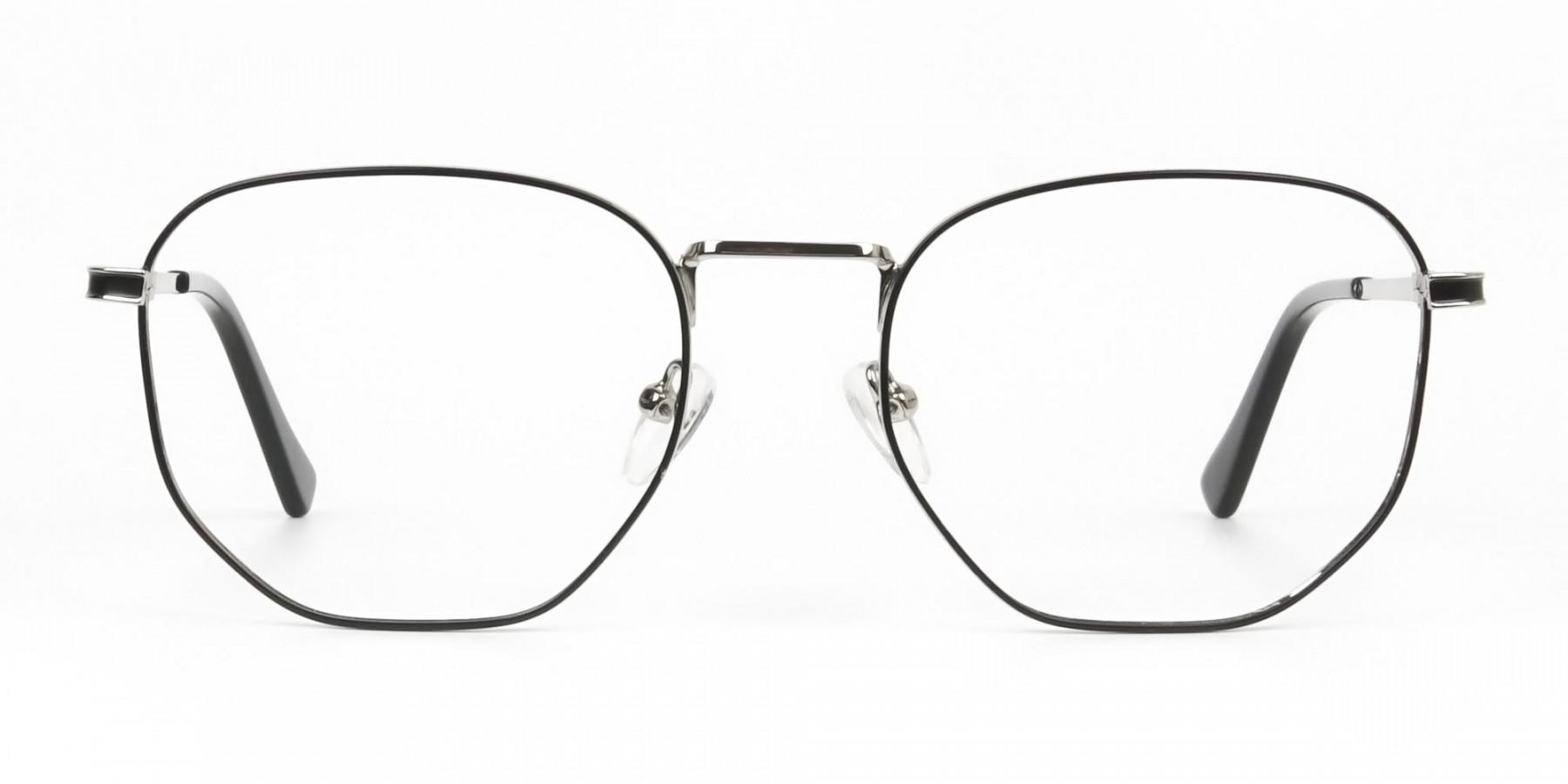 Lightweight Black & Silver Geometric Glasses - 1
