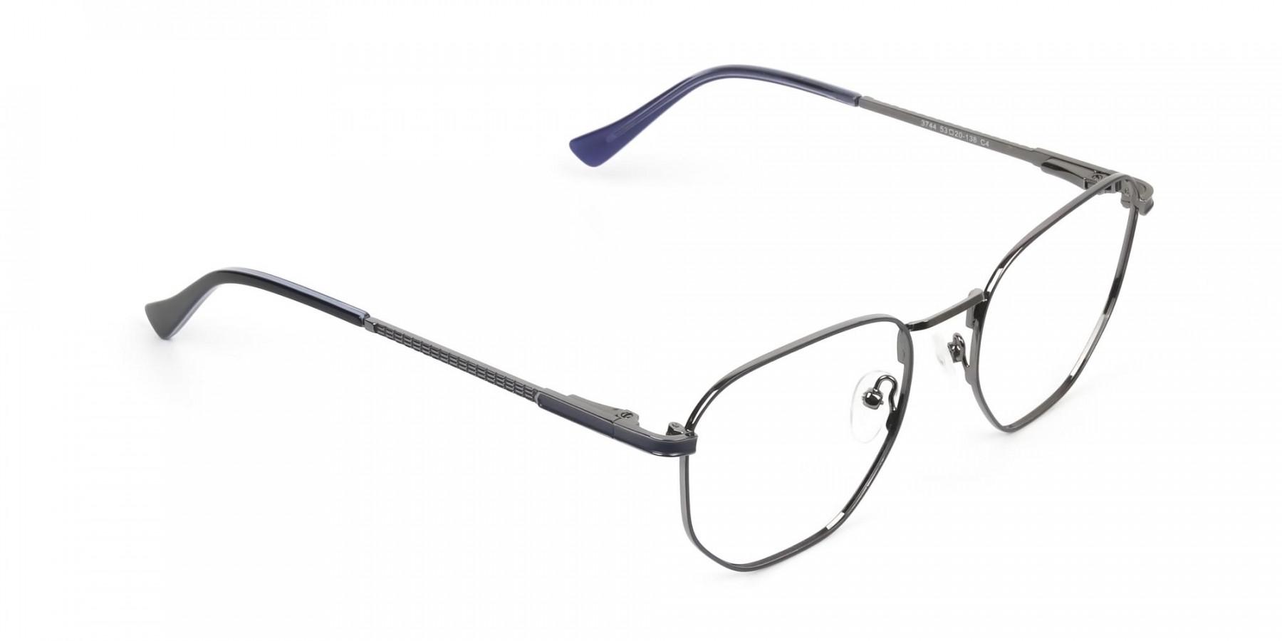 Lightweight Silver & Blue Geometric Glasses - 1