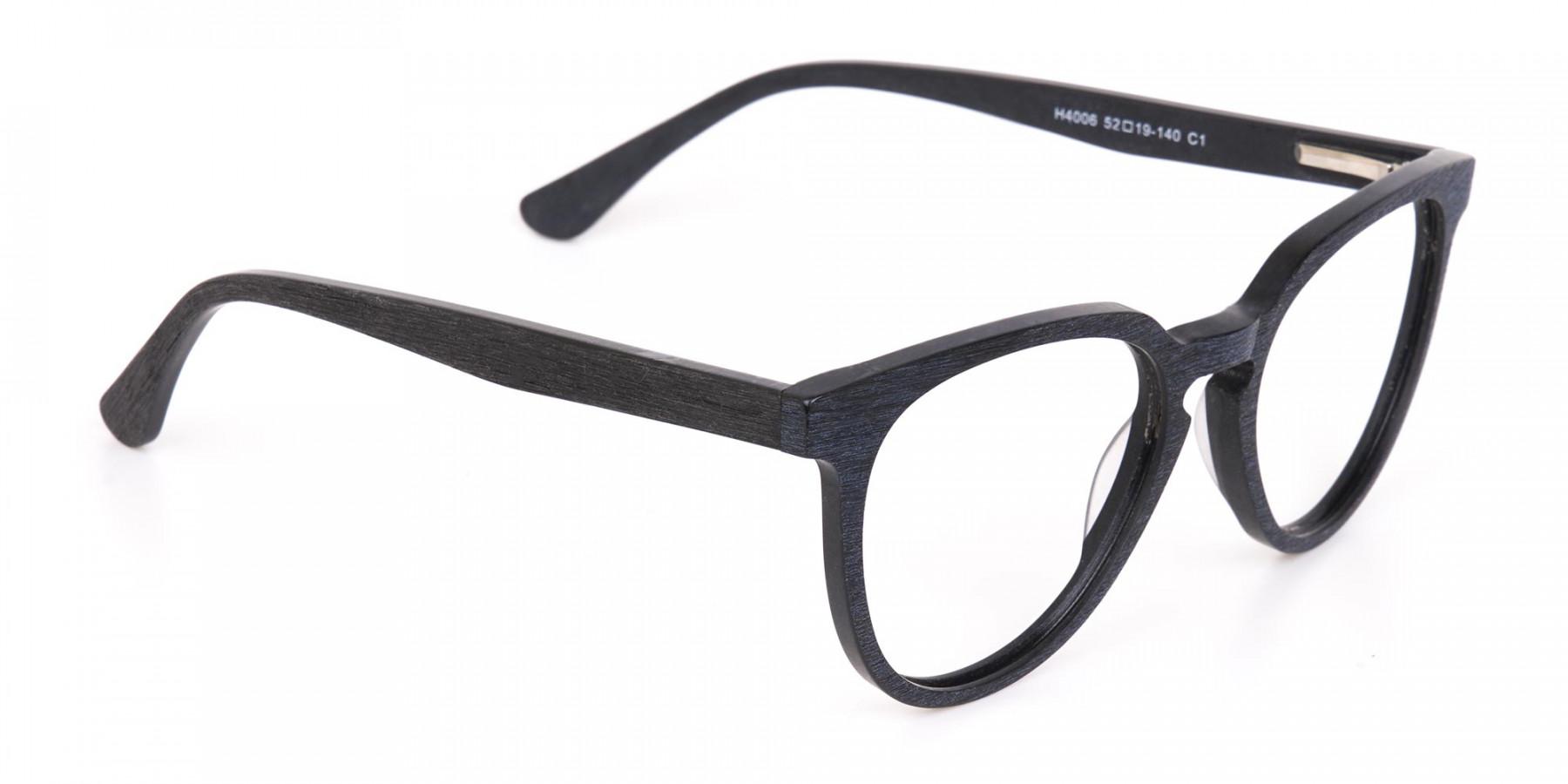 Black Wood Round Glasses Frame Unisex-1