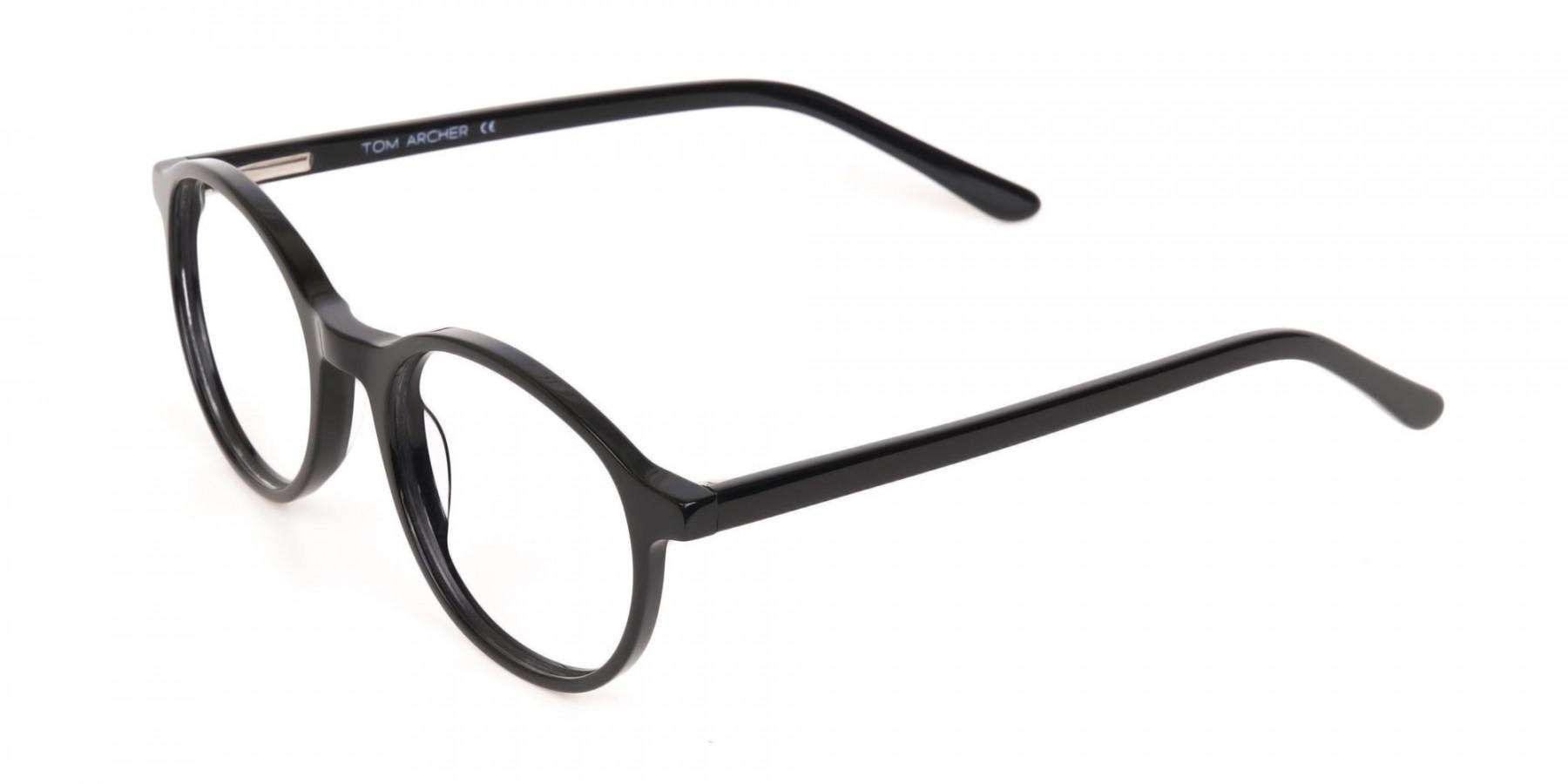 Black Acetate Round Eyeglasses For Unisex-1