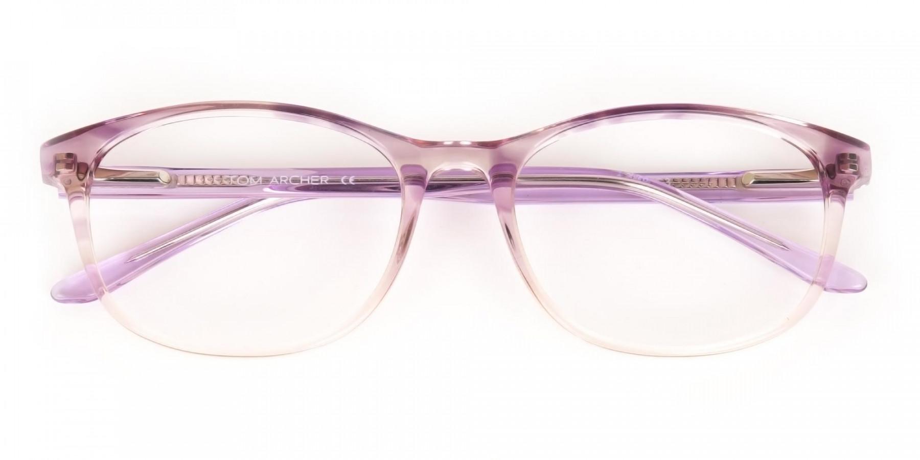 Crystal Purple & Apricot Rectangular Glasses-1