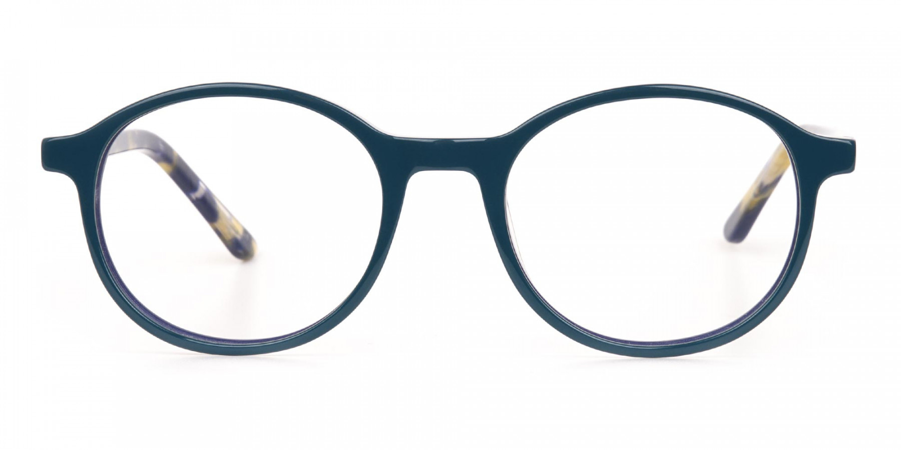 Turquoise Round Glasses With Blue & Green Tortoise-1