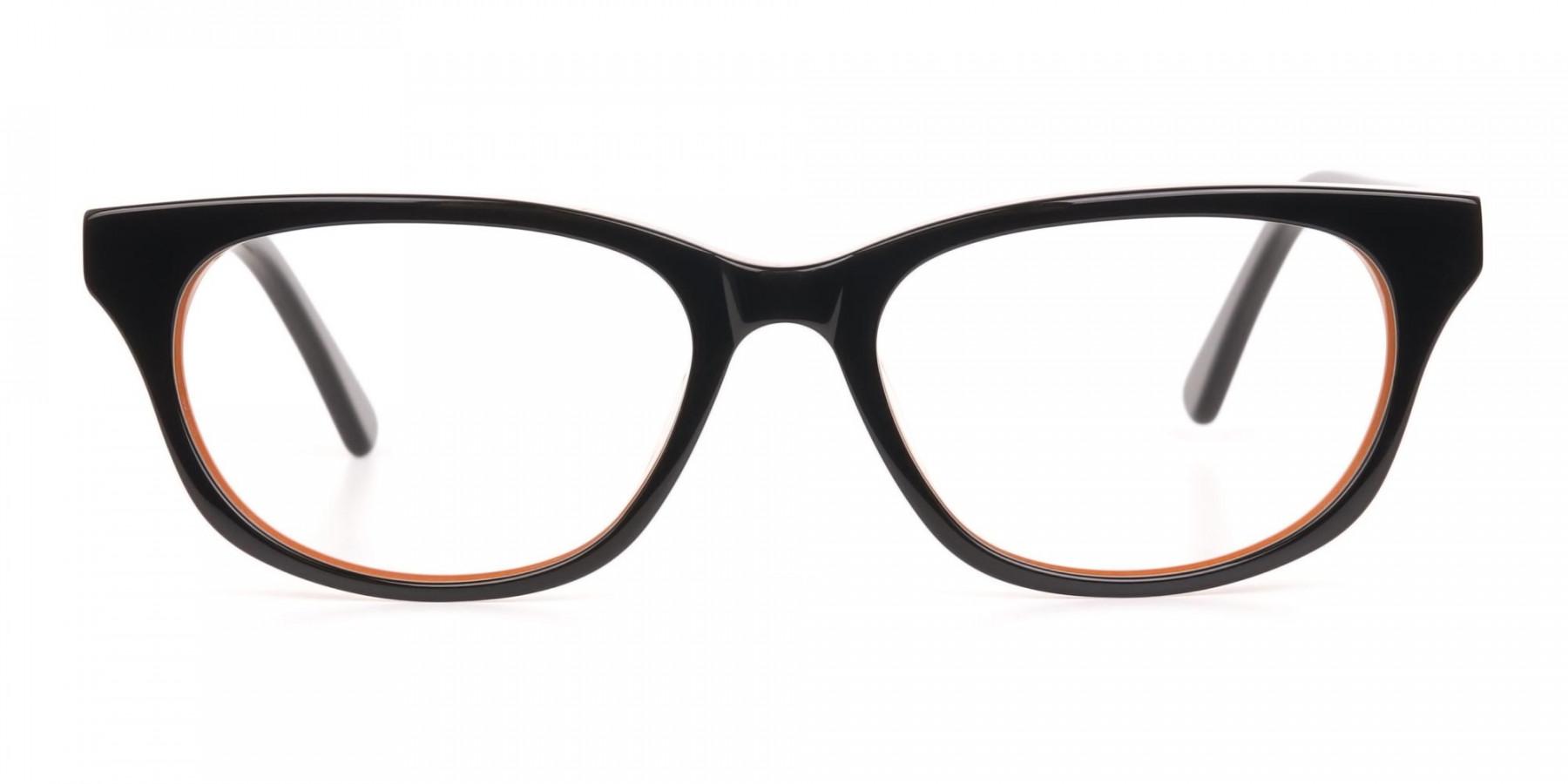 Petite Black and Orange Rectangular Glasses -1