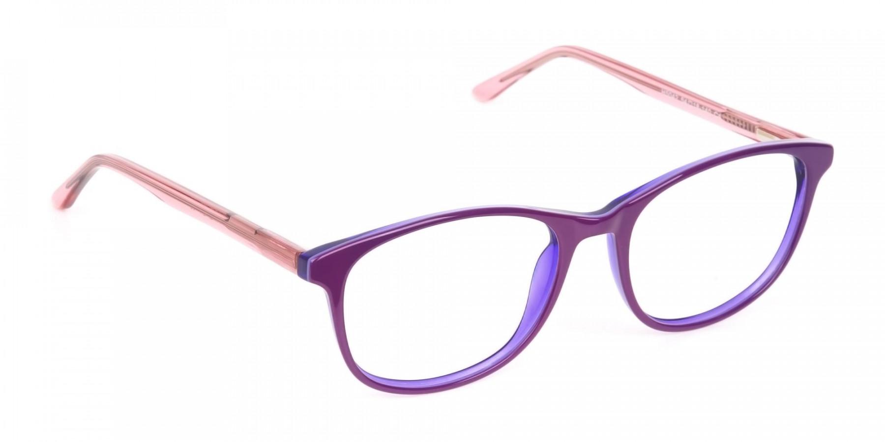 Women Raisin Purple Rectangle Glasses -1