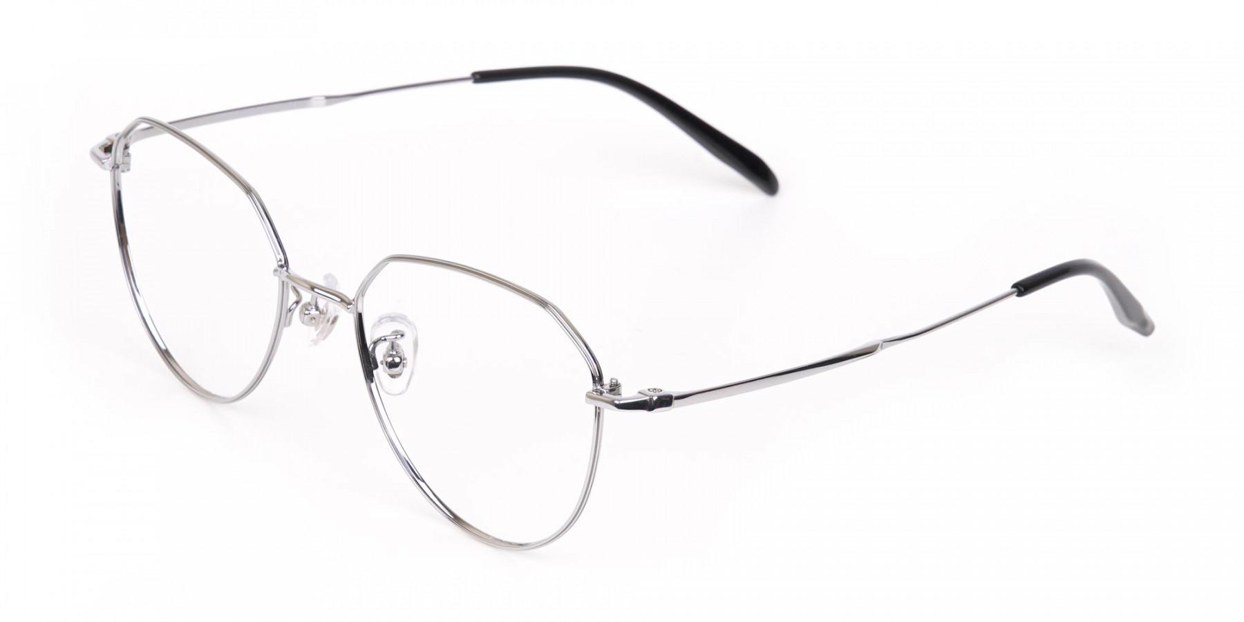 Silver Metal Aviator Glasses Frame Unisex-1