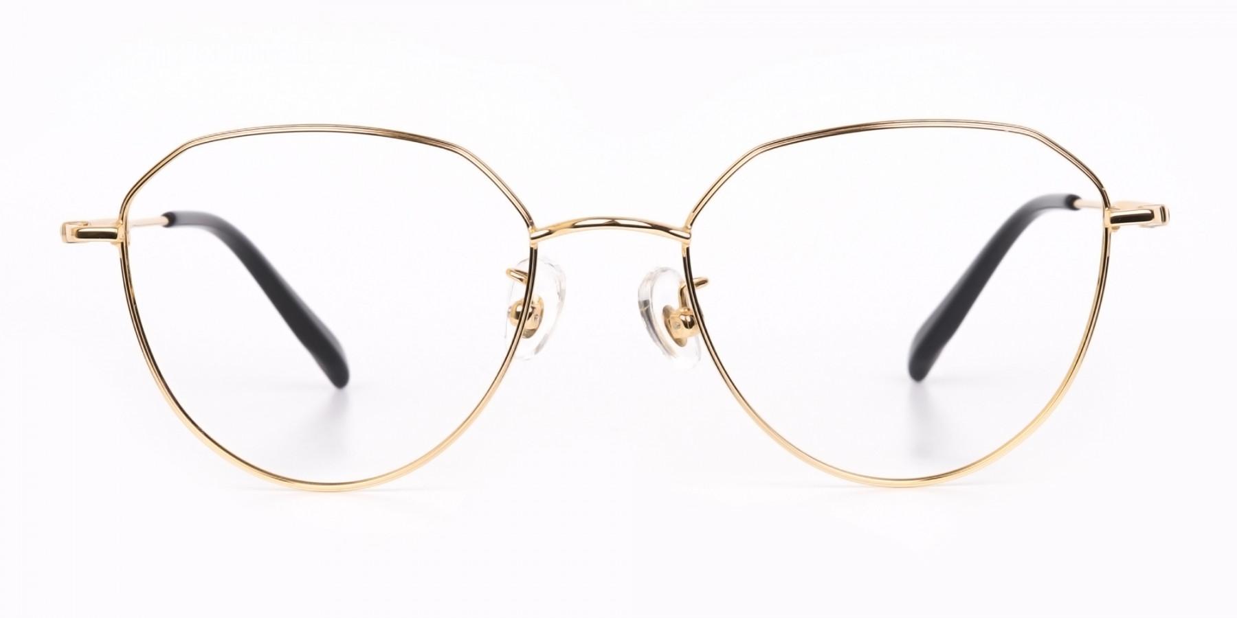 Gold Metal Aviator Glasses Frame For Unisex-1