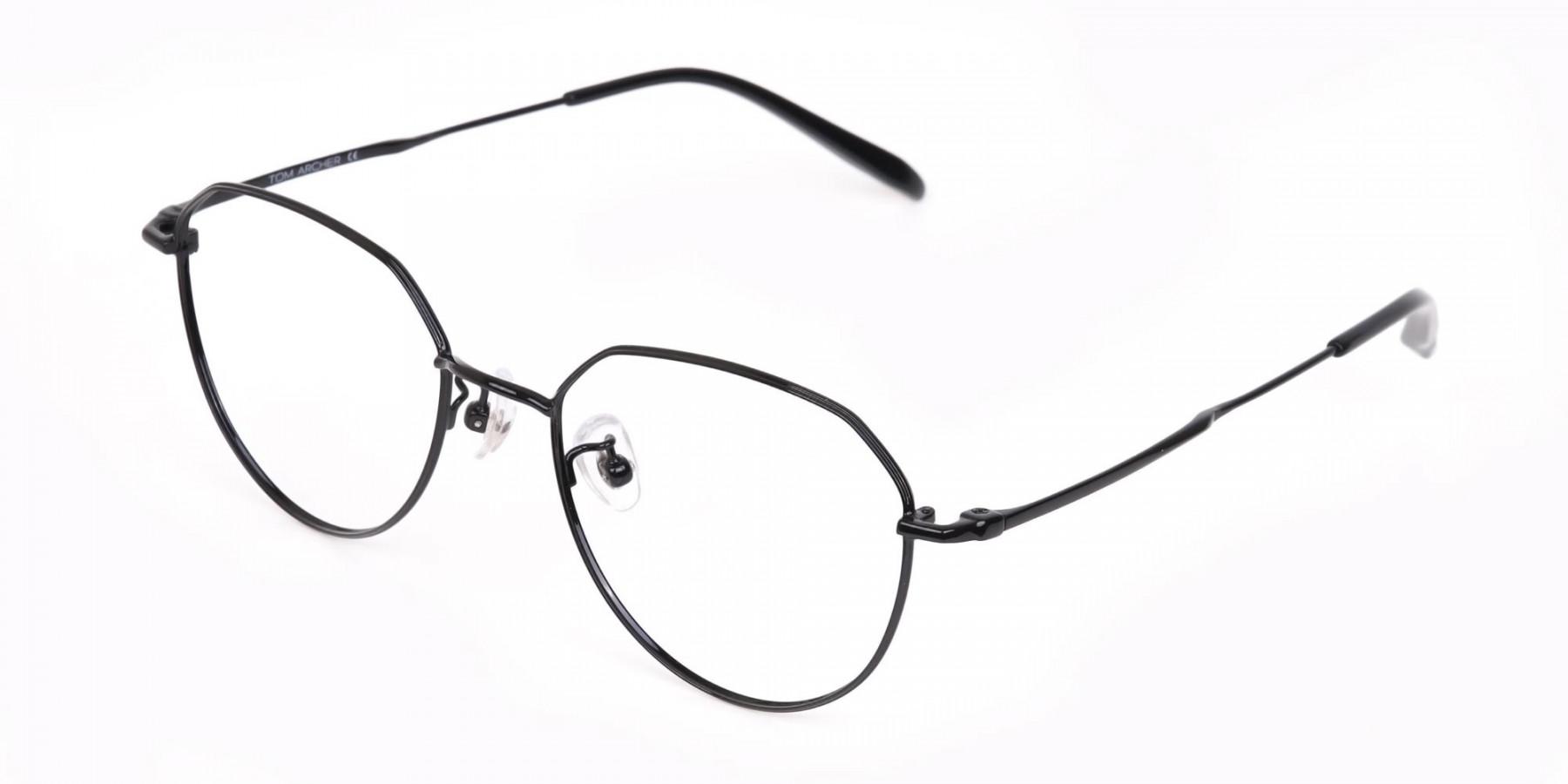 Black Metal Aviator Frames Glasses Unisex-1