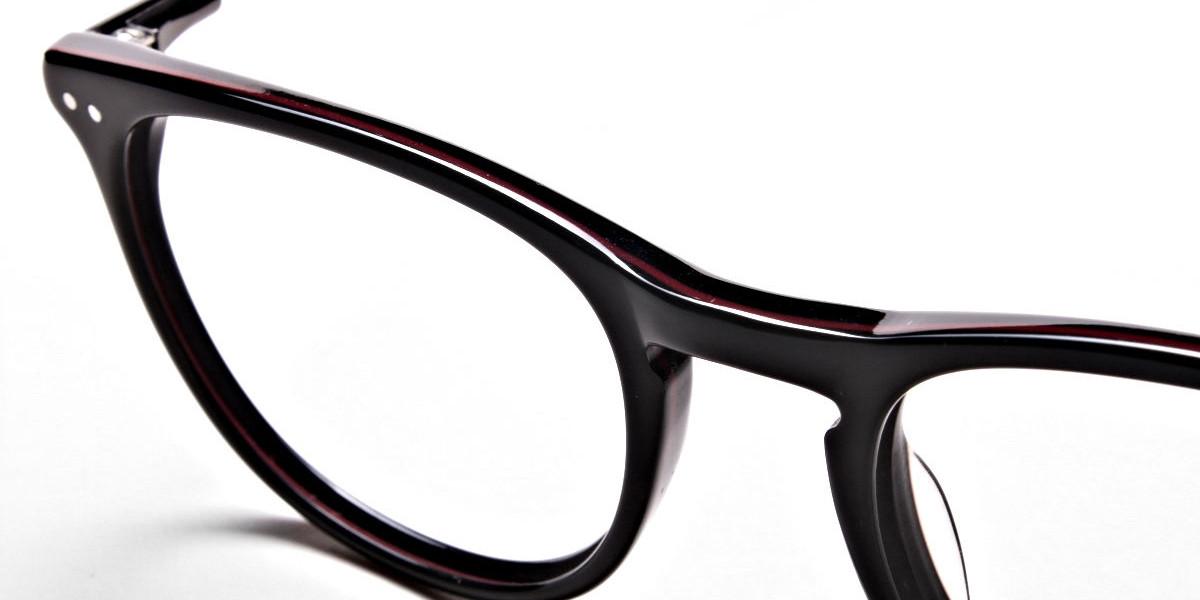 Black & Red Round Glasses, Eyeglasses