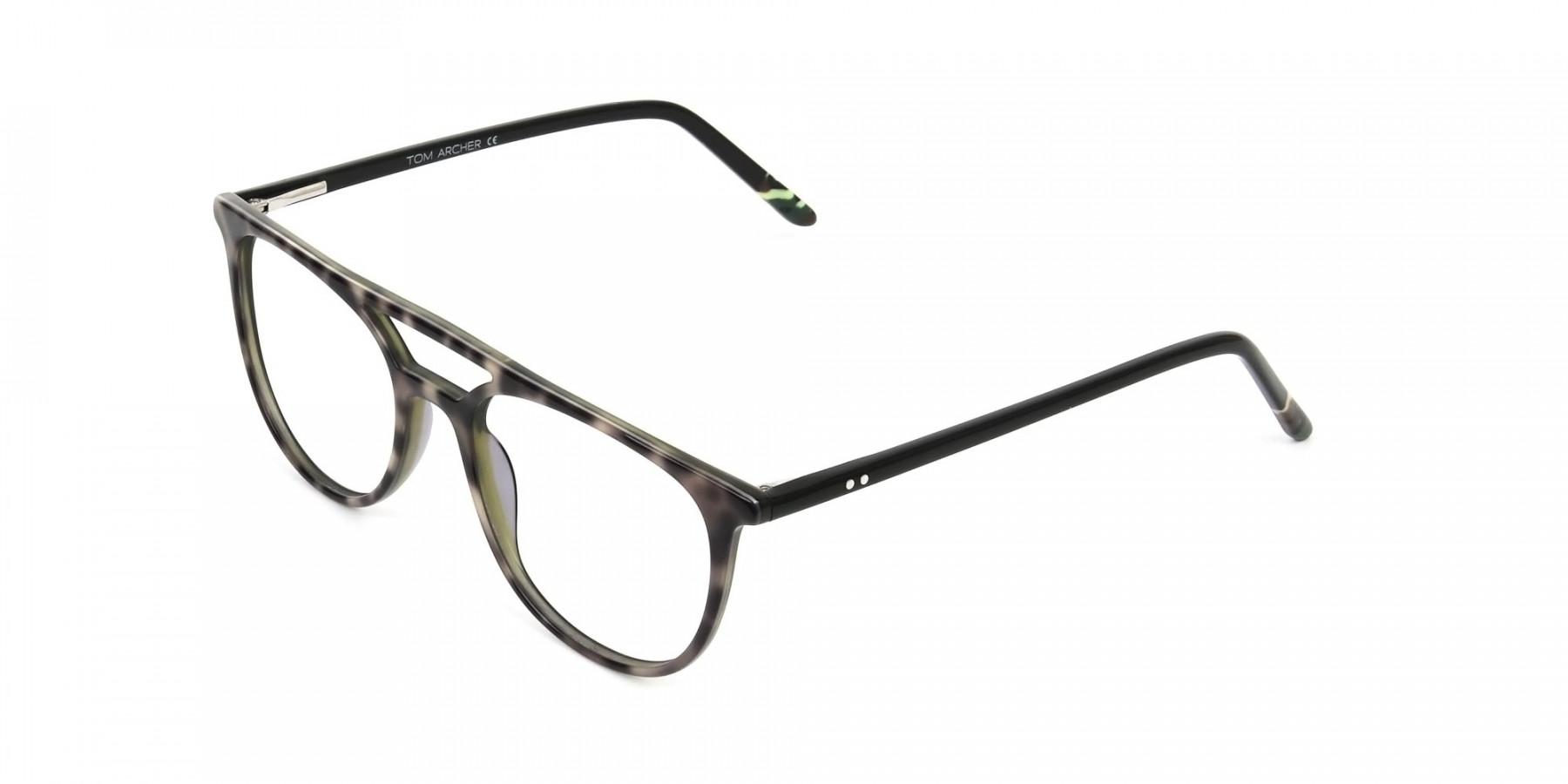 Jungle Green & Grey Tortoise Aviator Spectacles - 1