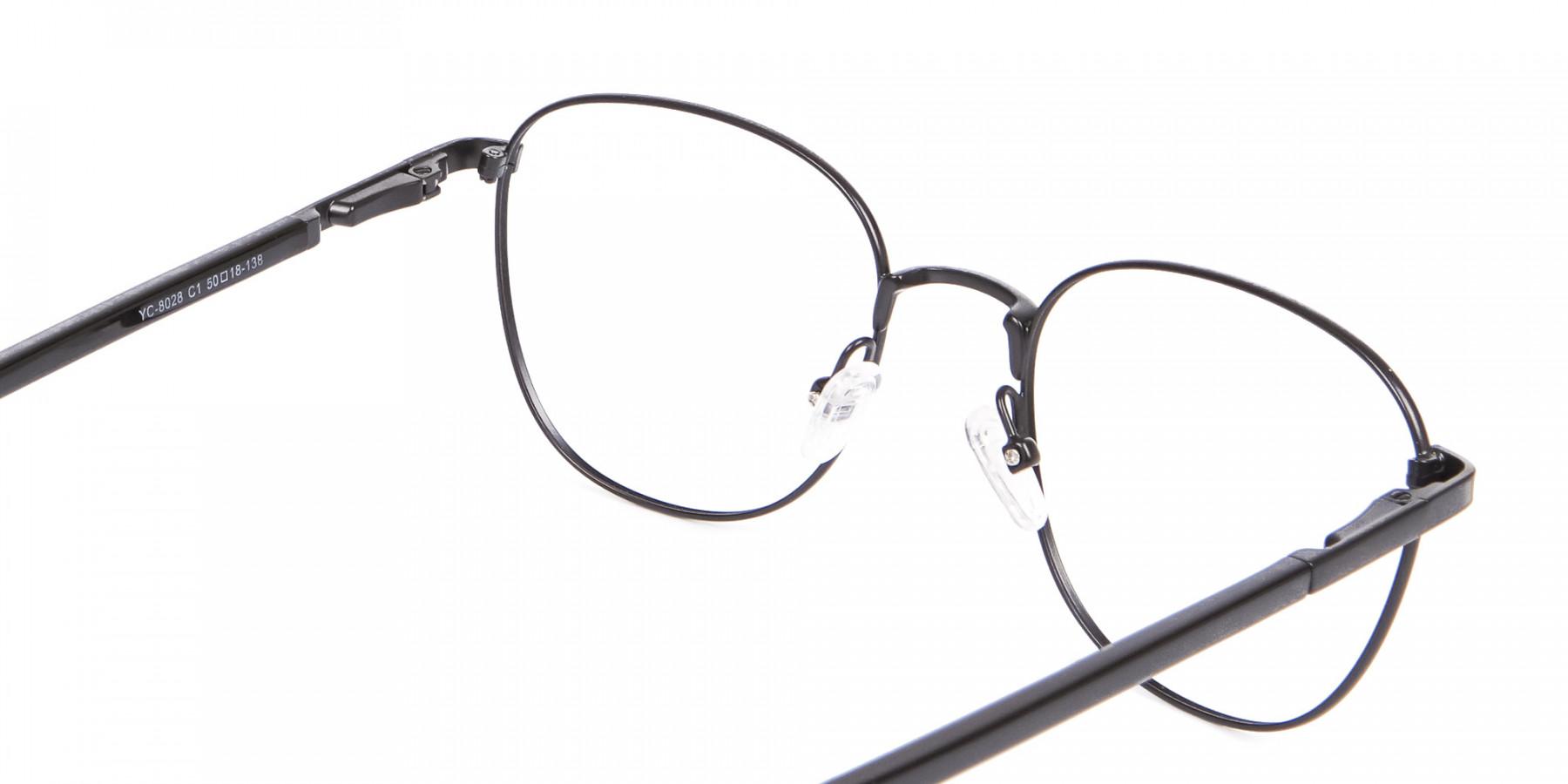 Petite Fit Thin Metal Black Wayfarer Frame-1