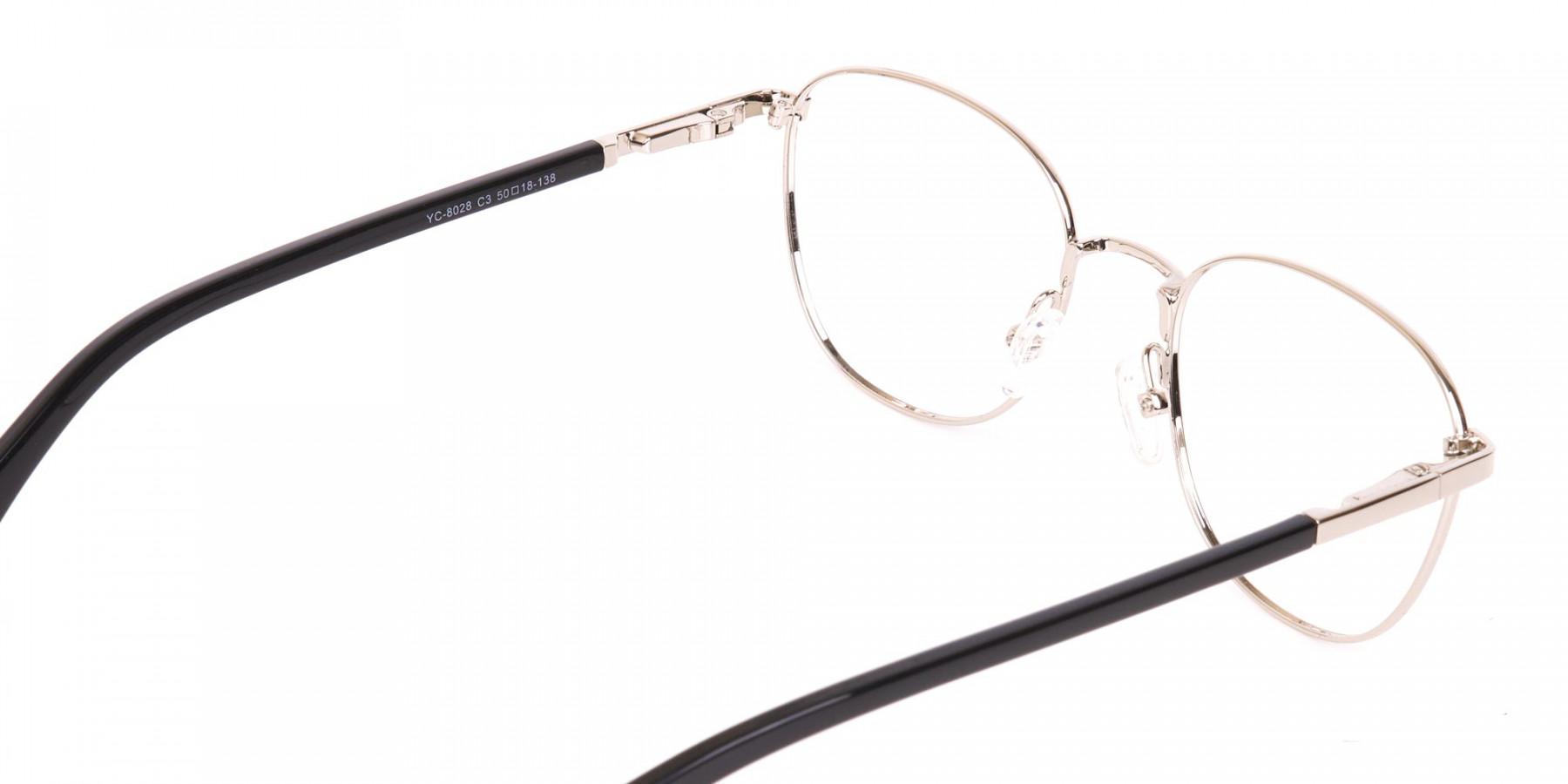 Silver Retro Wayfarer Nerd Glasses Online-1