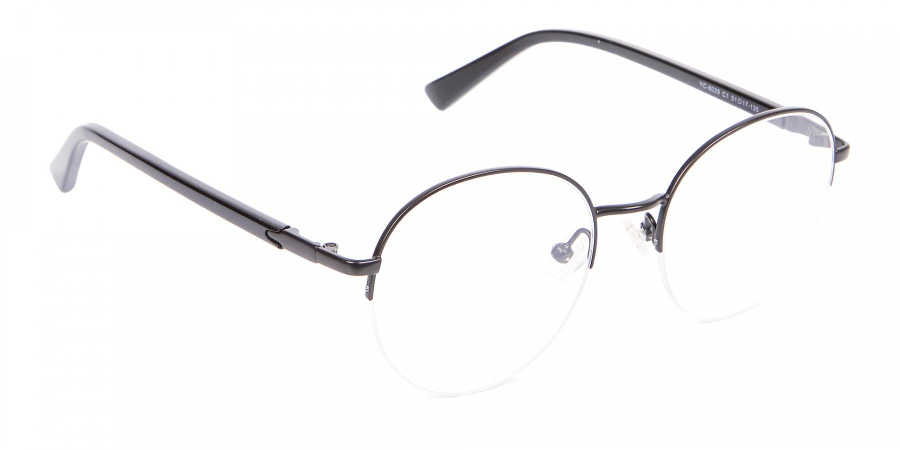 Half-rimmed Black Round Frame-1