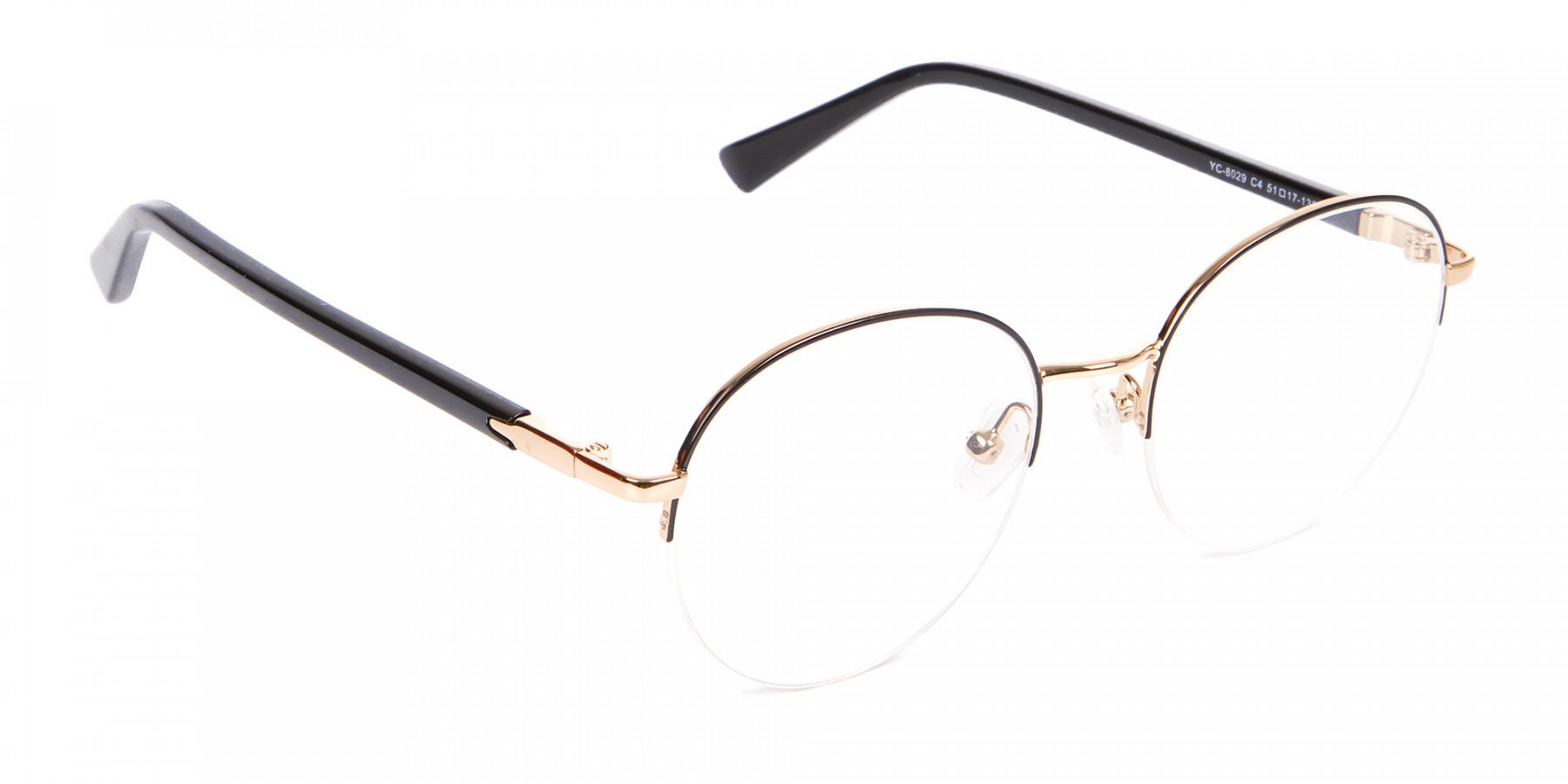 Black & Gold Half-rimmed Designer Glasses UK-1