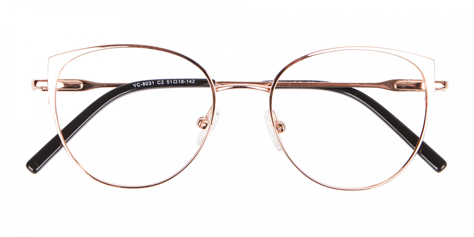 Classic Textured Glasses in Rose-Gold - 1