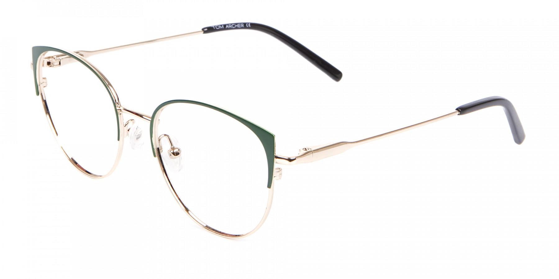 Vintage Inspired Glasses Green and Metal Frame - 1