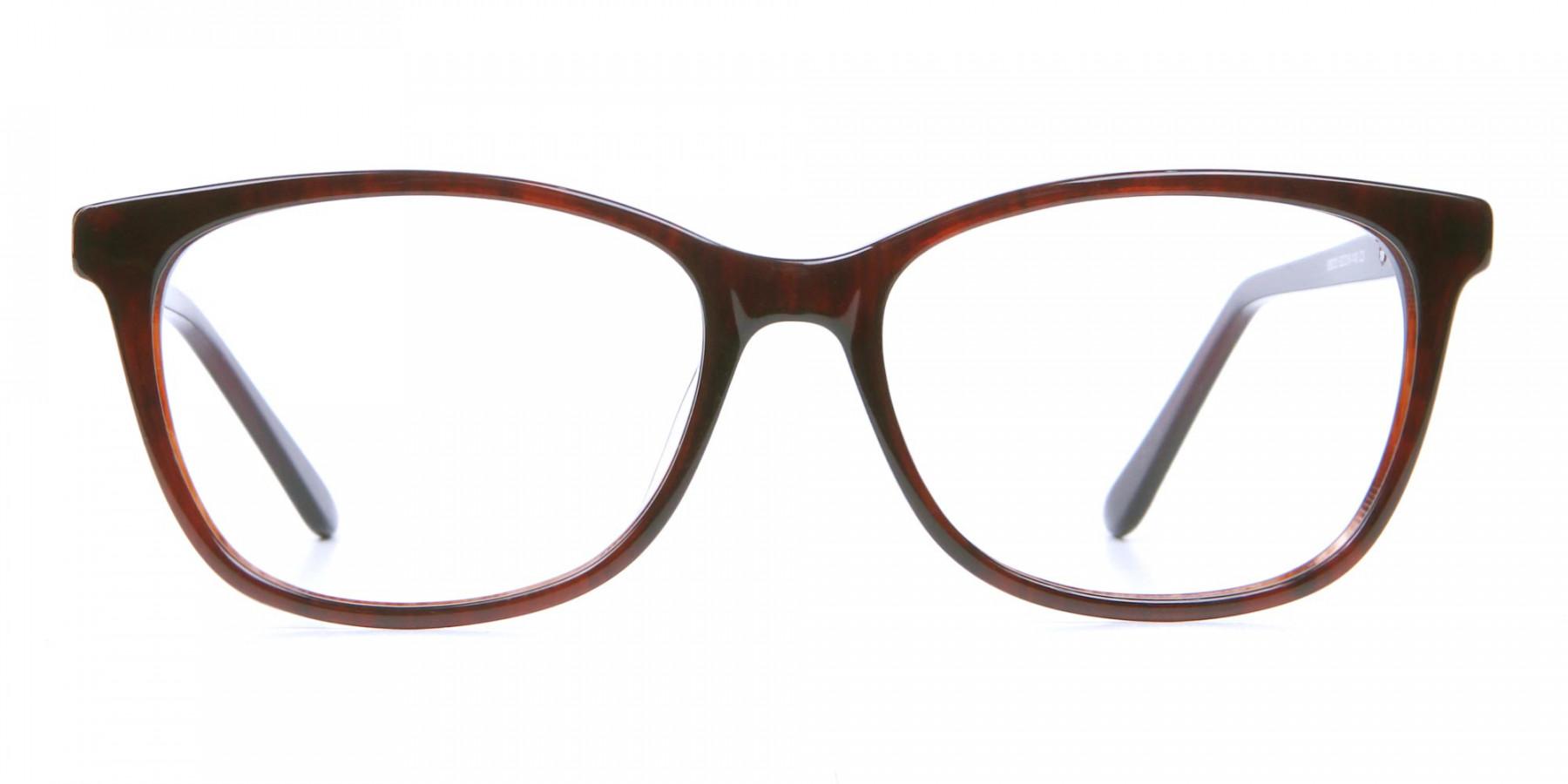 Havana & Burgundy Vintage Cat Eye Glasses