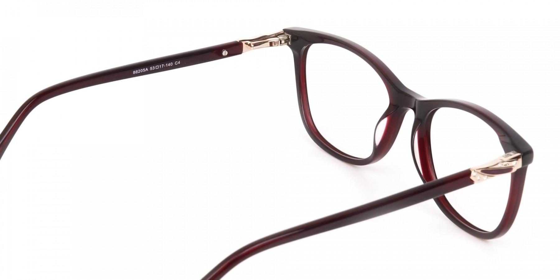 Women Purple and Burgundy Rectangular Glasses-1