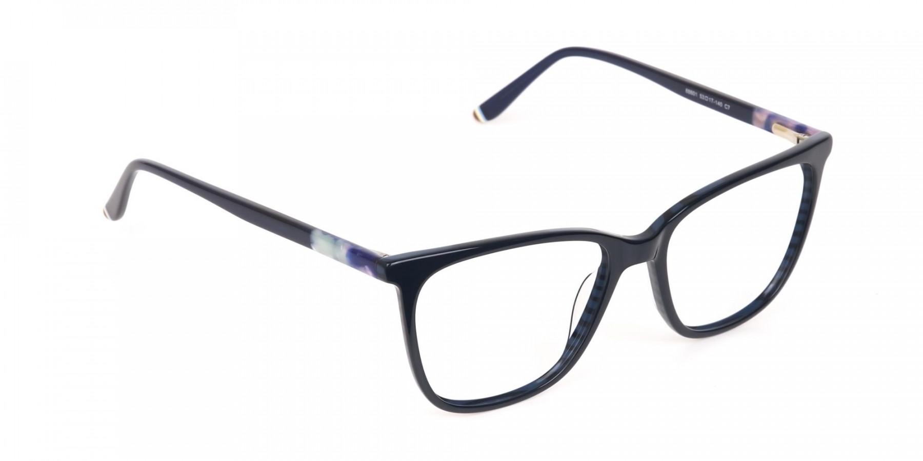 Designer Dark Dusty Blue Eyeglasses Unisex-1