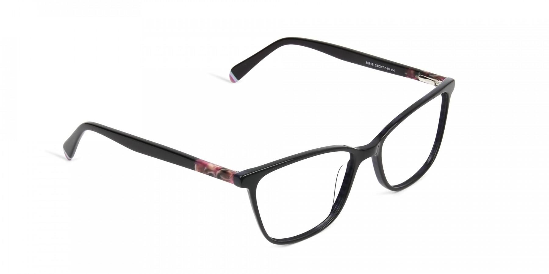 Dark Violet Rectangular Spectacles - 1