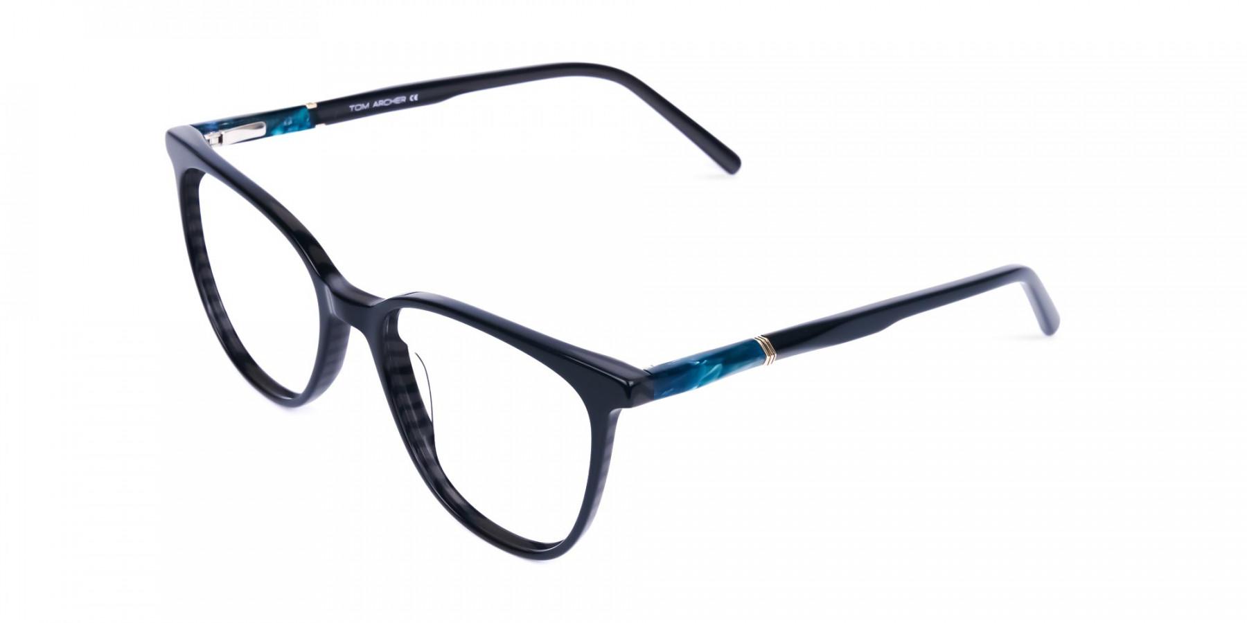 teal cat eye glasses - 1