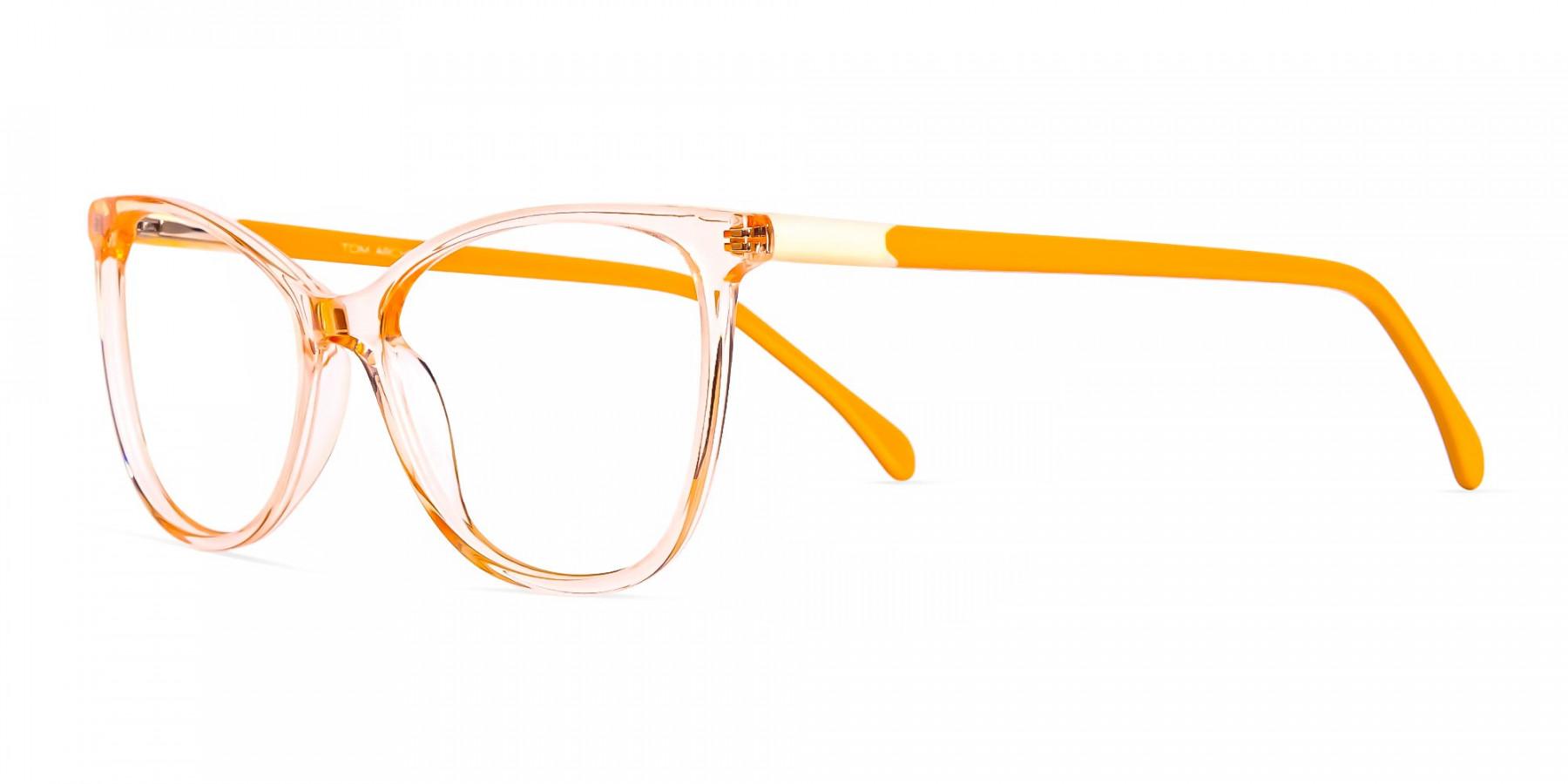 Crystal-Clear-or-Transparent-orange-Colour-Cat eye-Glasses-Frames-1