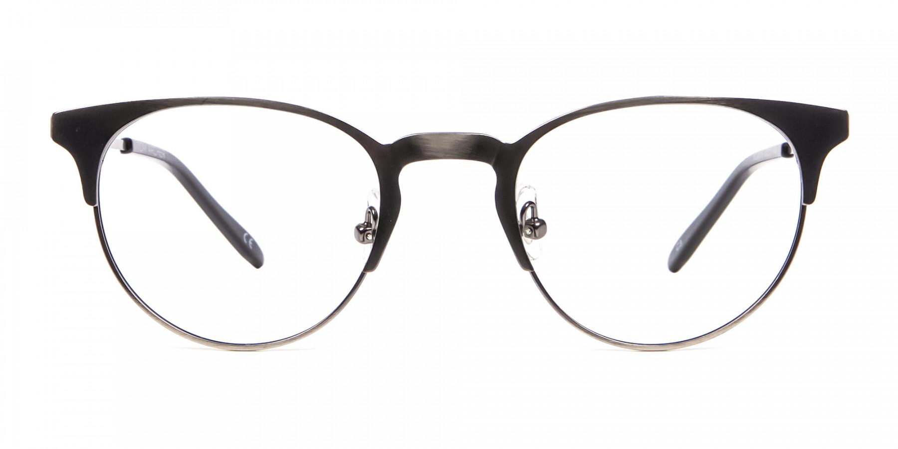 Gunmetal Cat Eye Eyeglasses Men -1