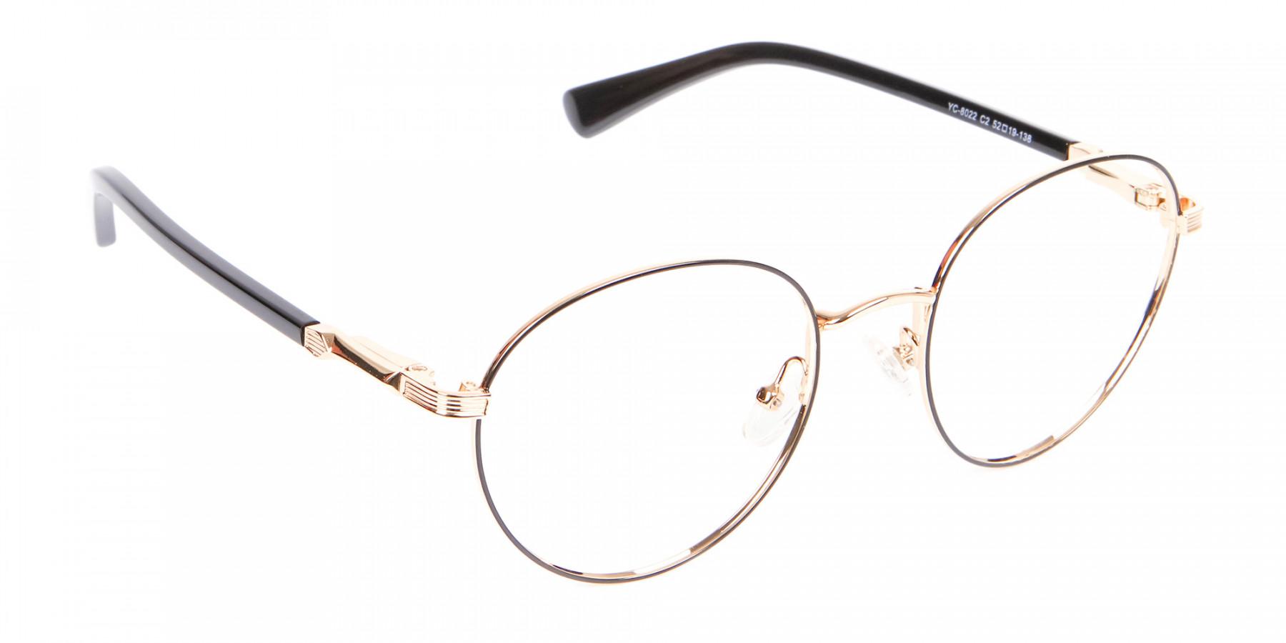 Round Gold Metal Eyeglasses Frame - 1