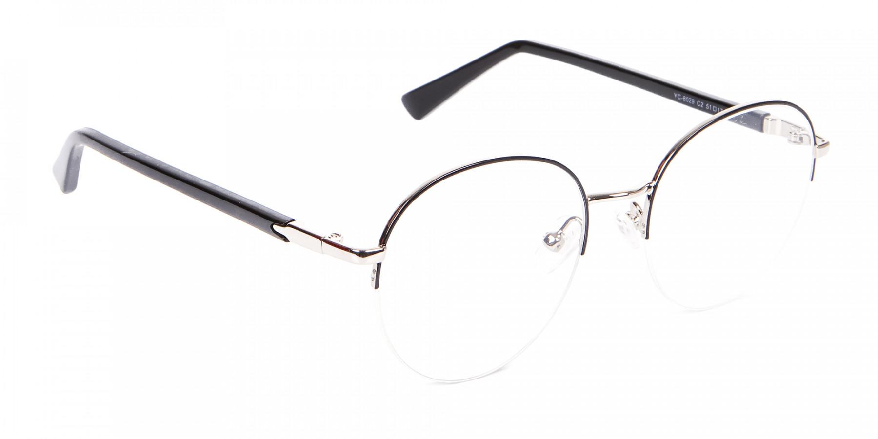 Premium Half-Rimmed Frame Silver-1
