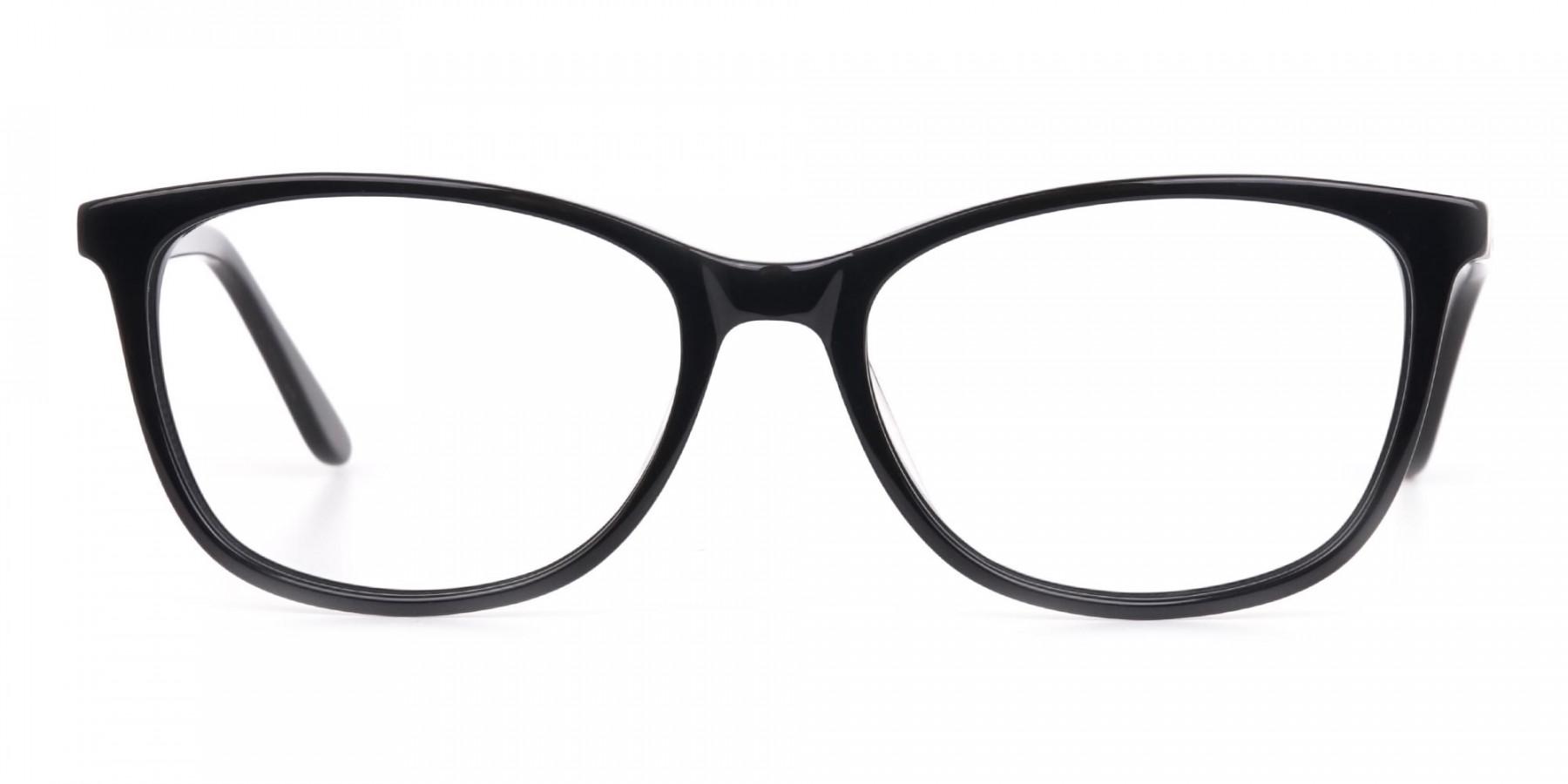 Women Black Acetate Rectangular Glasses Frame-1