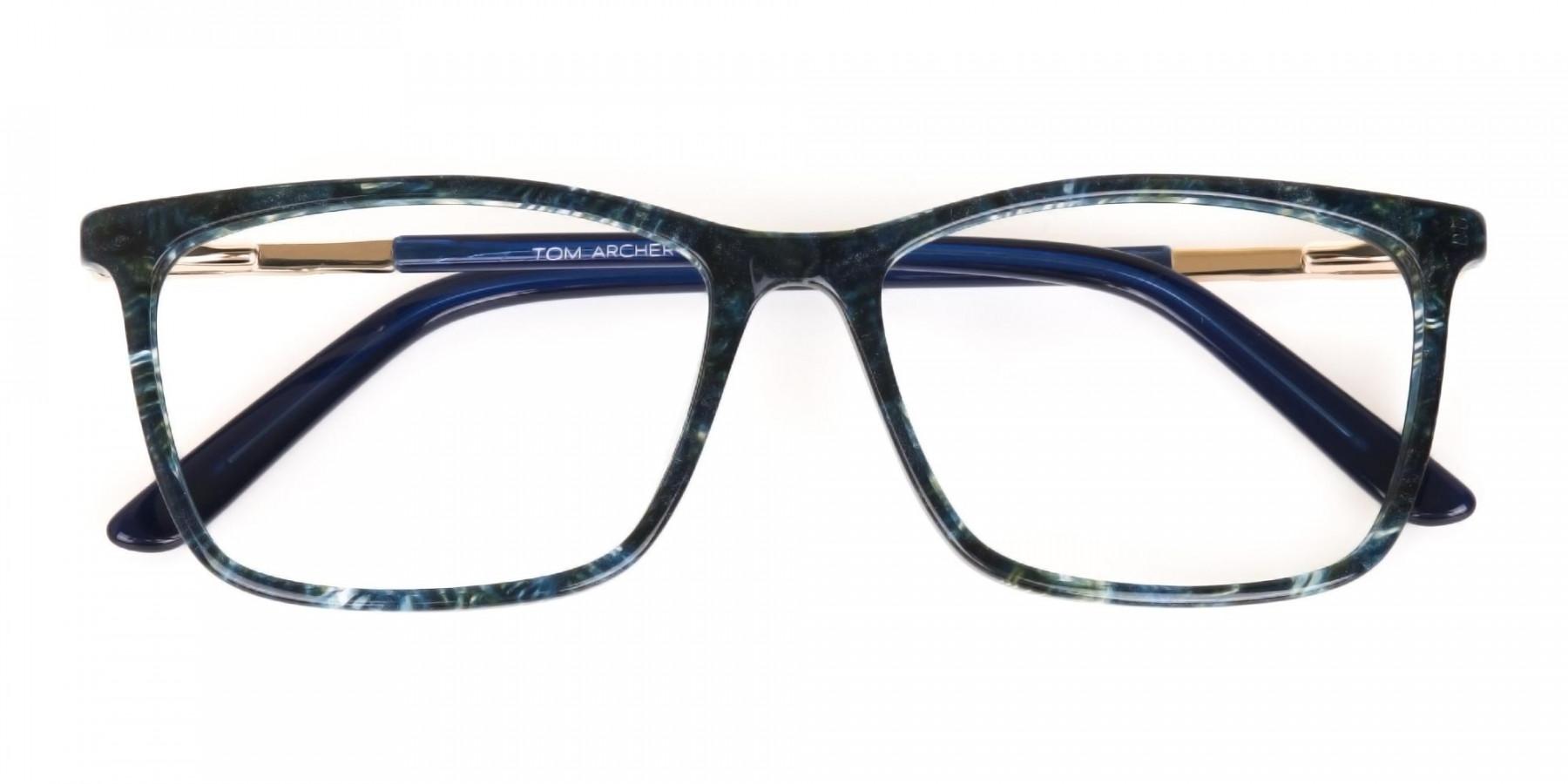 Dark Emerald Green & Royal Blue Eyeglasses Women -1