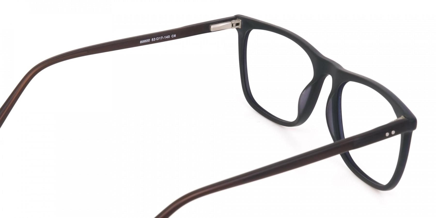 Hunter Green and Dark Brown Designer Glasses Unisex-1