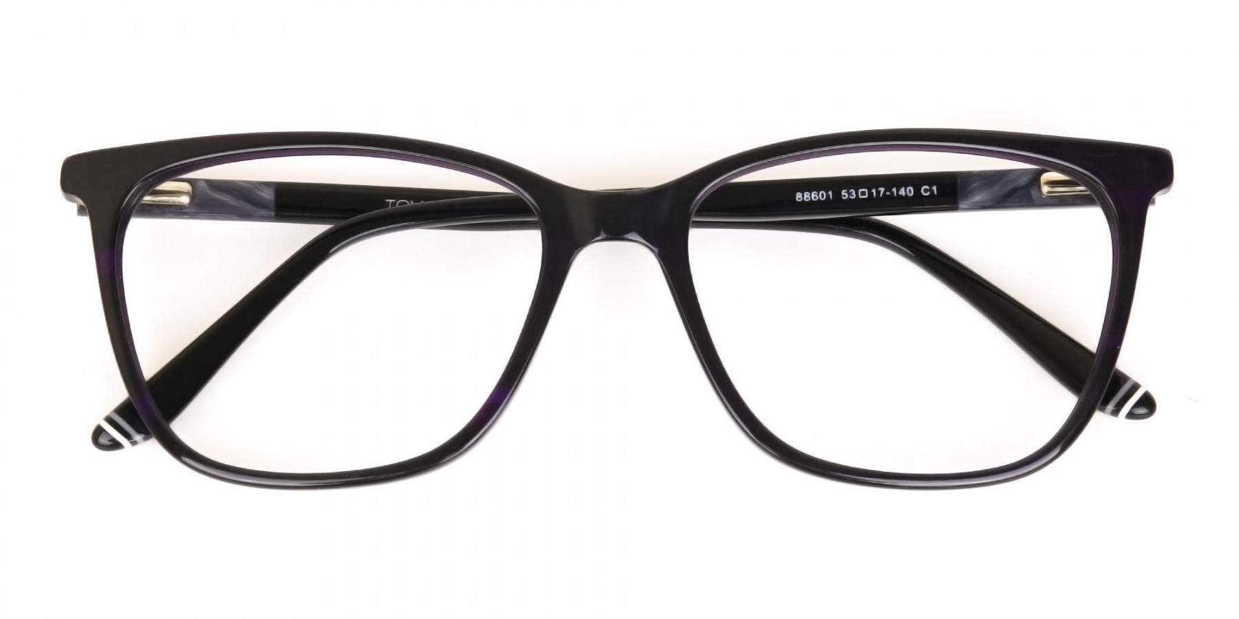 Black Designer Glasses with Purple Stripe Unisex-1