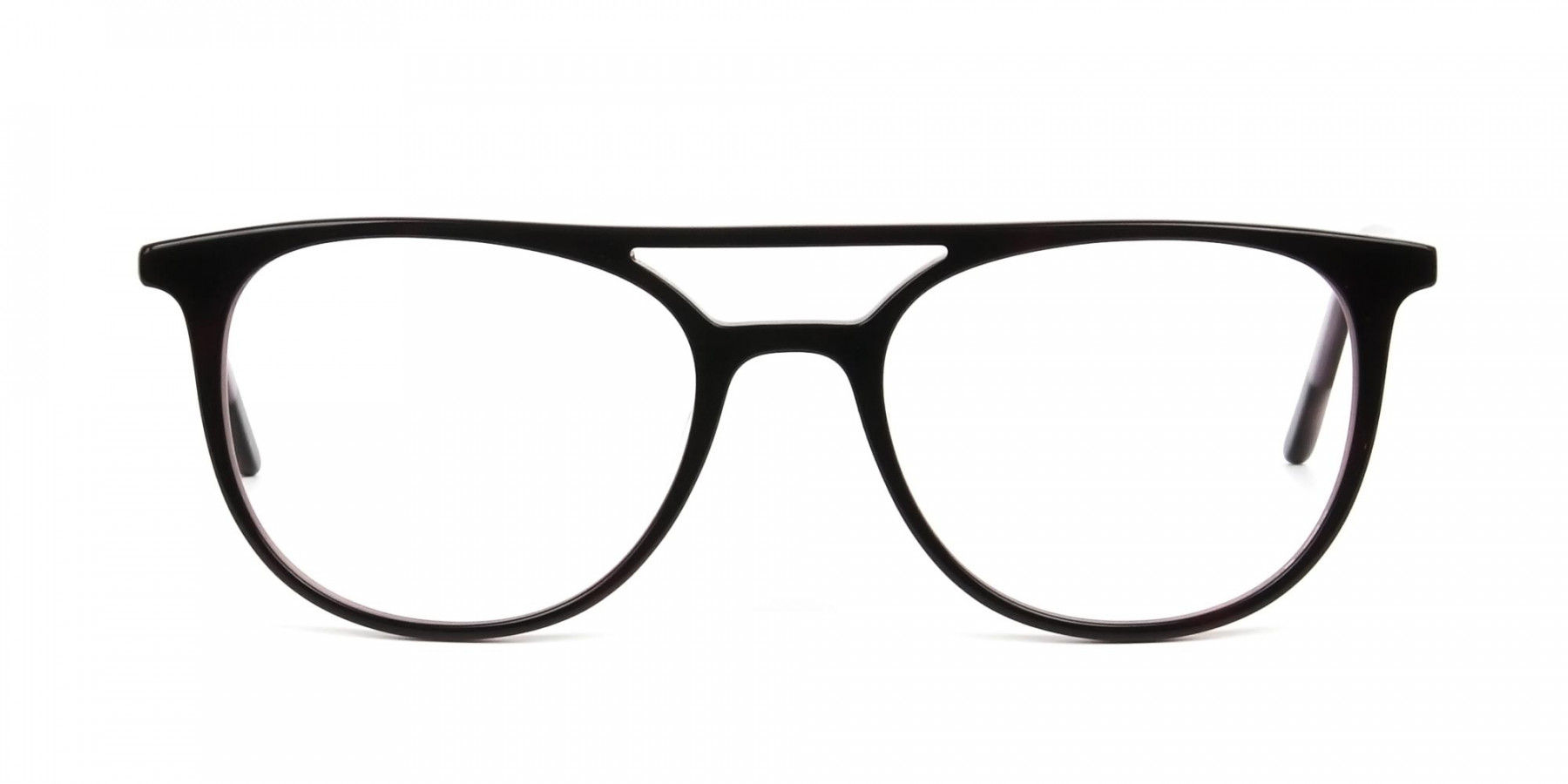Dark Brown and Silver Lilac Aviator Spectacles - 1