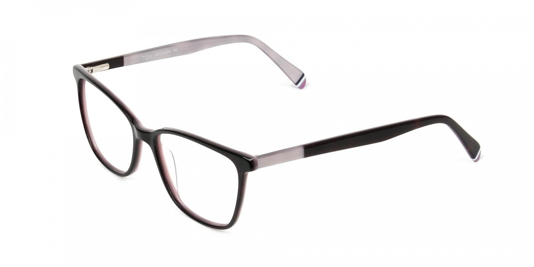Dark Brown & Silver Lilac Rectangular Spectacles - 1